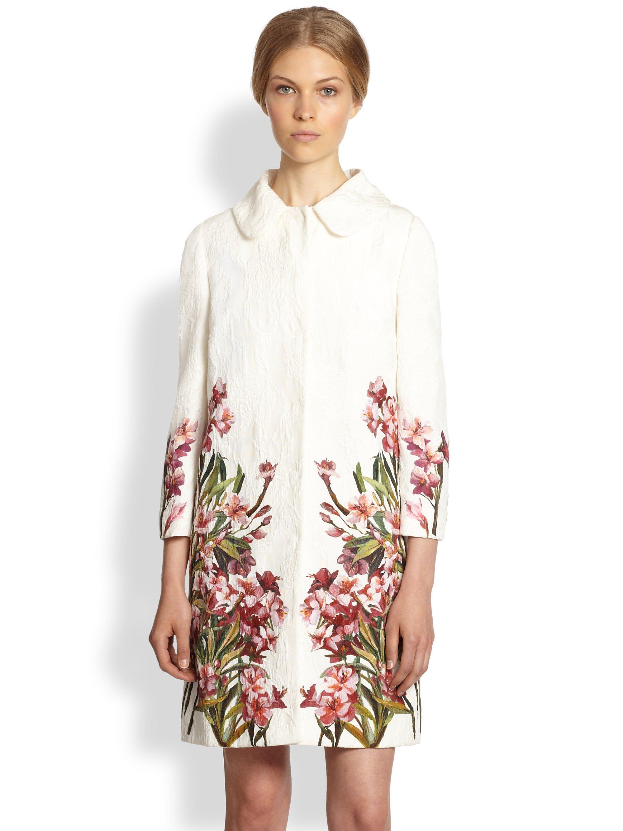 e98039b6537ea Lyst - Dolce   Gabbana Floral Print Jacquard Top Coat in Natural