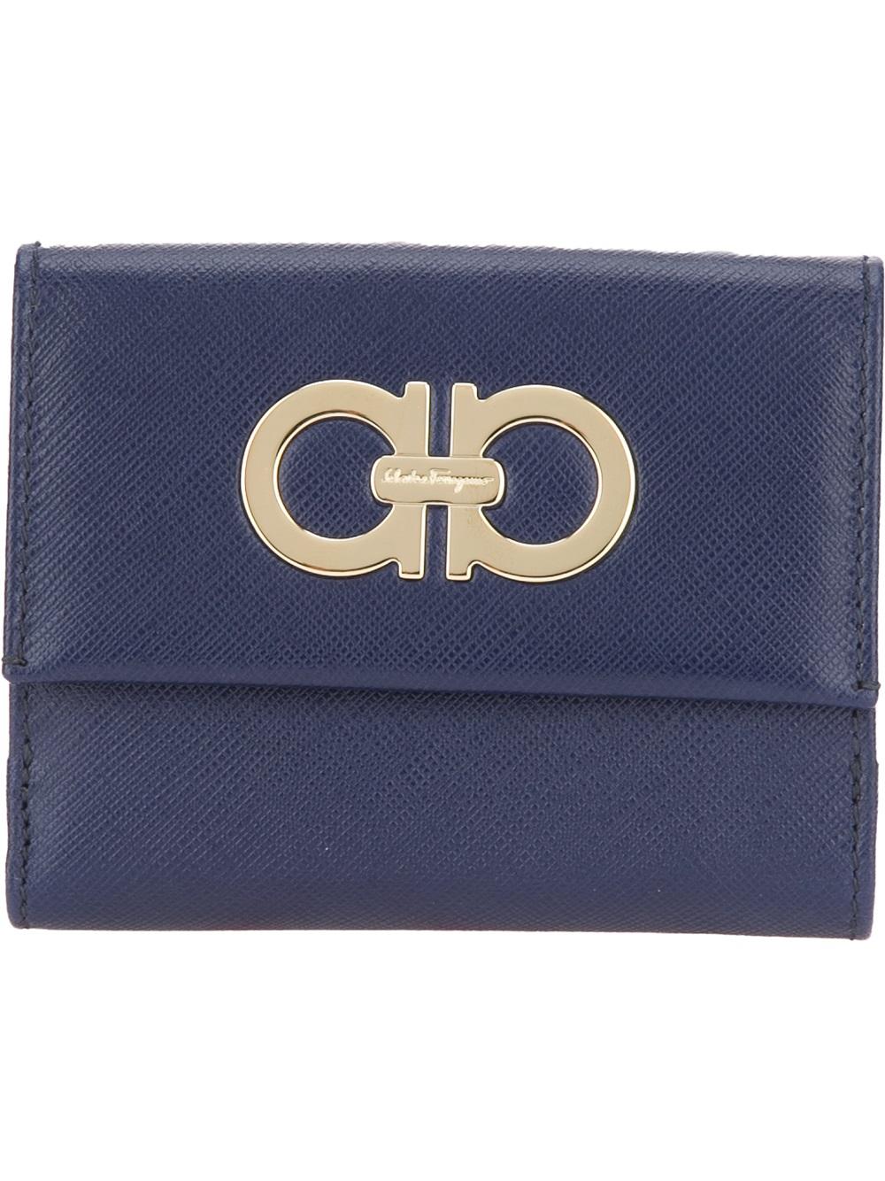 Ferragamo Logo Wallet In Blue Lyst