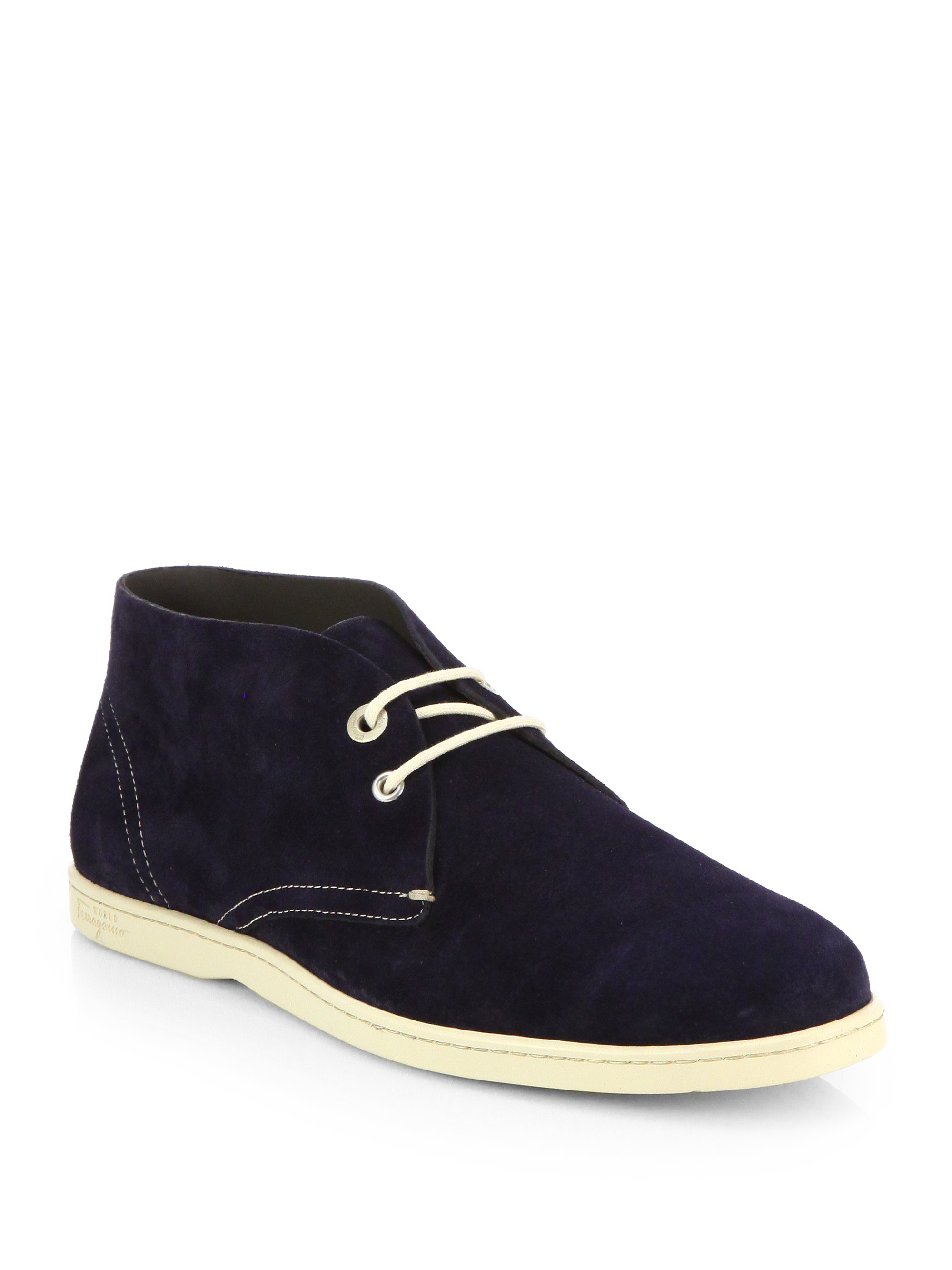 ferragamo suede chukka boots in blue for lyst