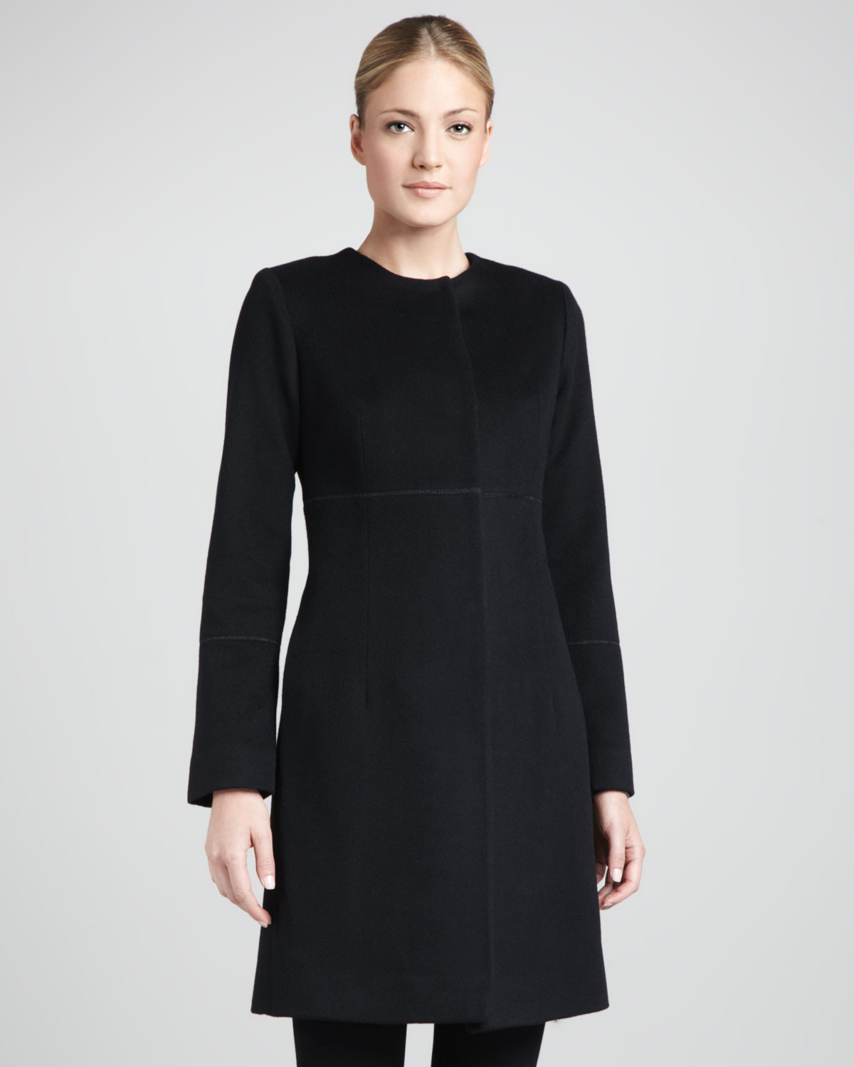 Fleurette Collarless Pickstitched Wool Empire Coat in Black | Lyst