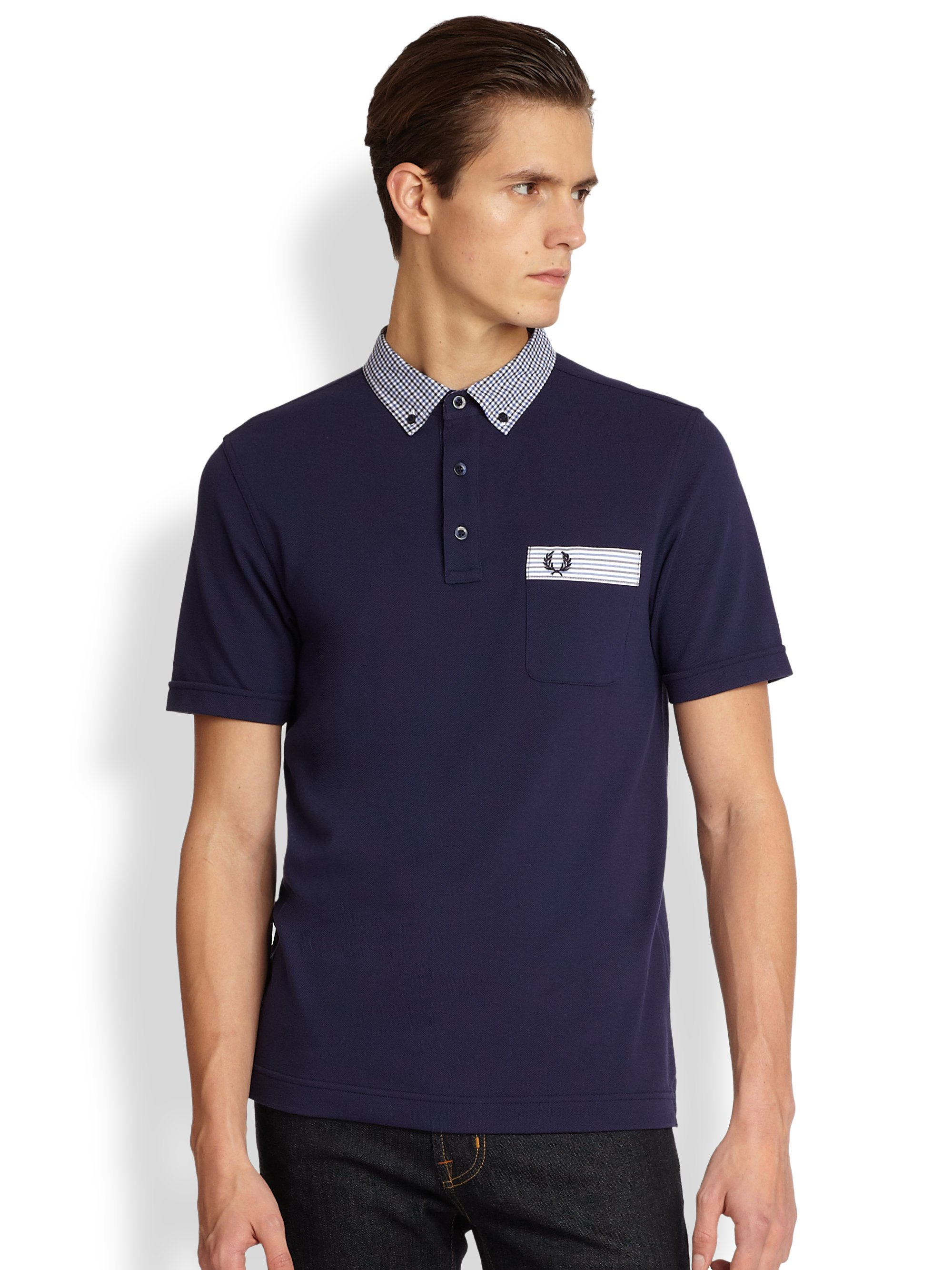fred perry gingham trim polo shirt in blue for men lyst. Black Bedroom Furniture Sets. Home Design Ideas