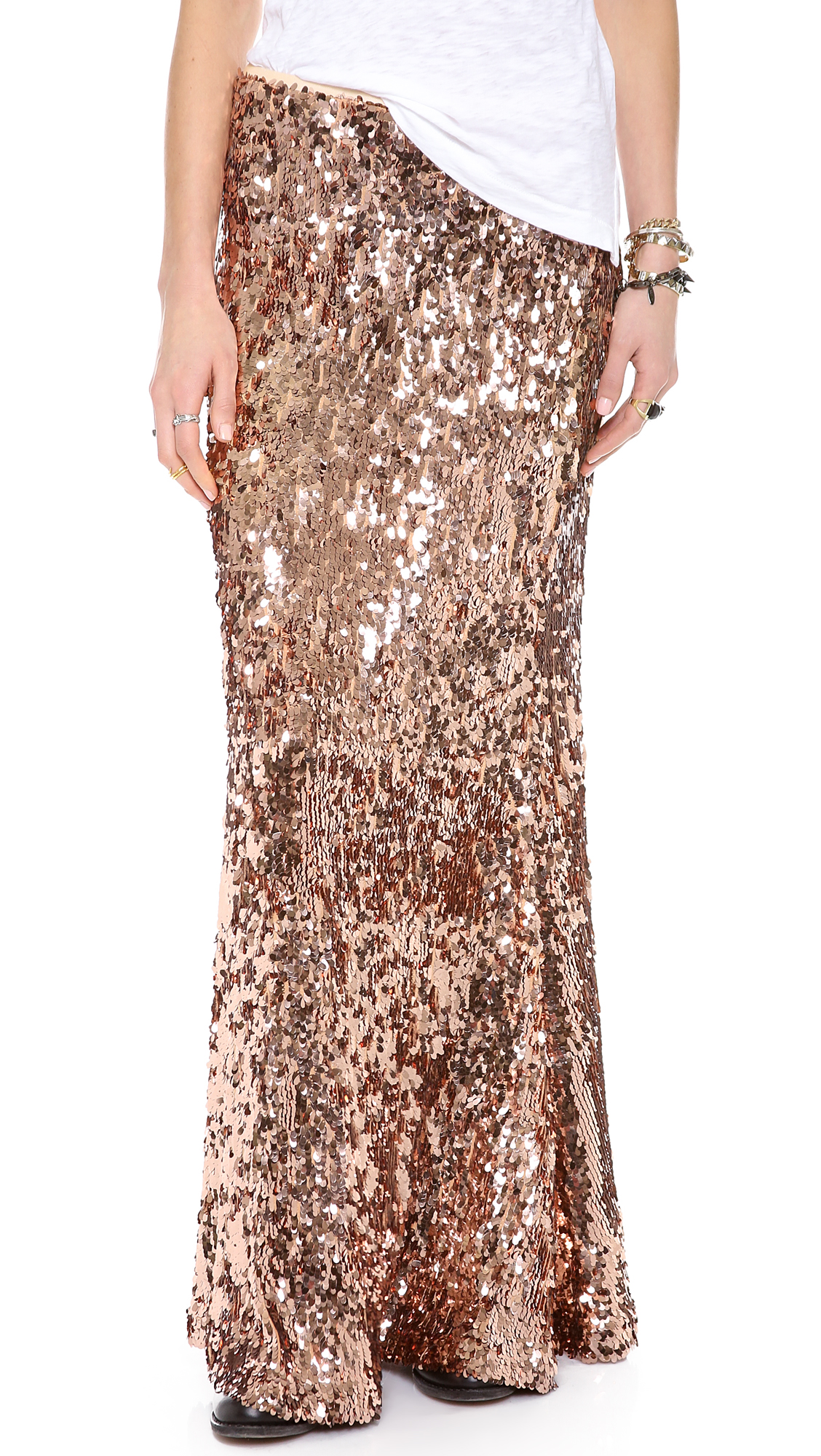 free sequins for maxi skirt in pink lyst