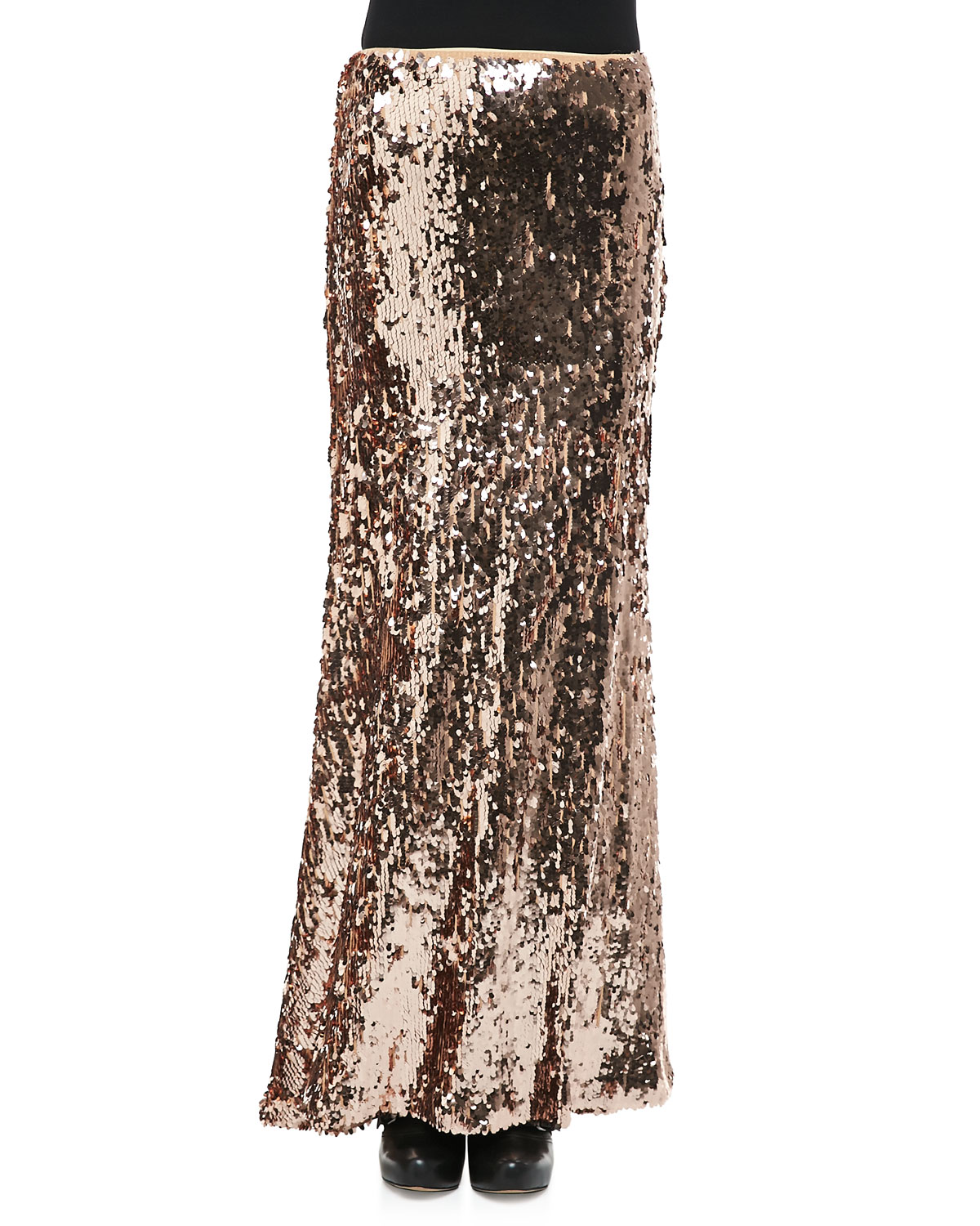 free sequins for maxi skirt in gold lyst