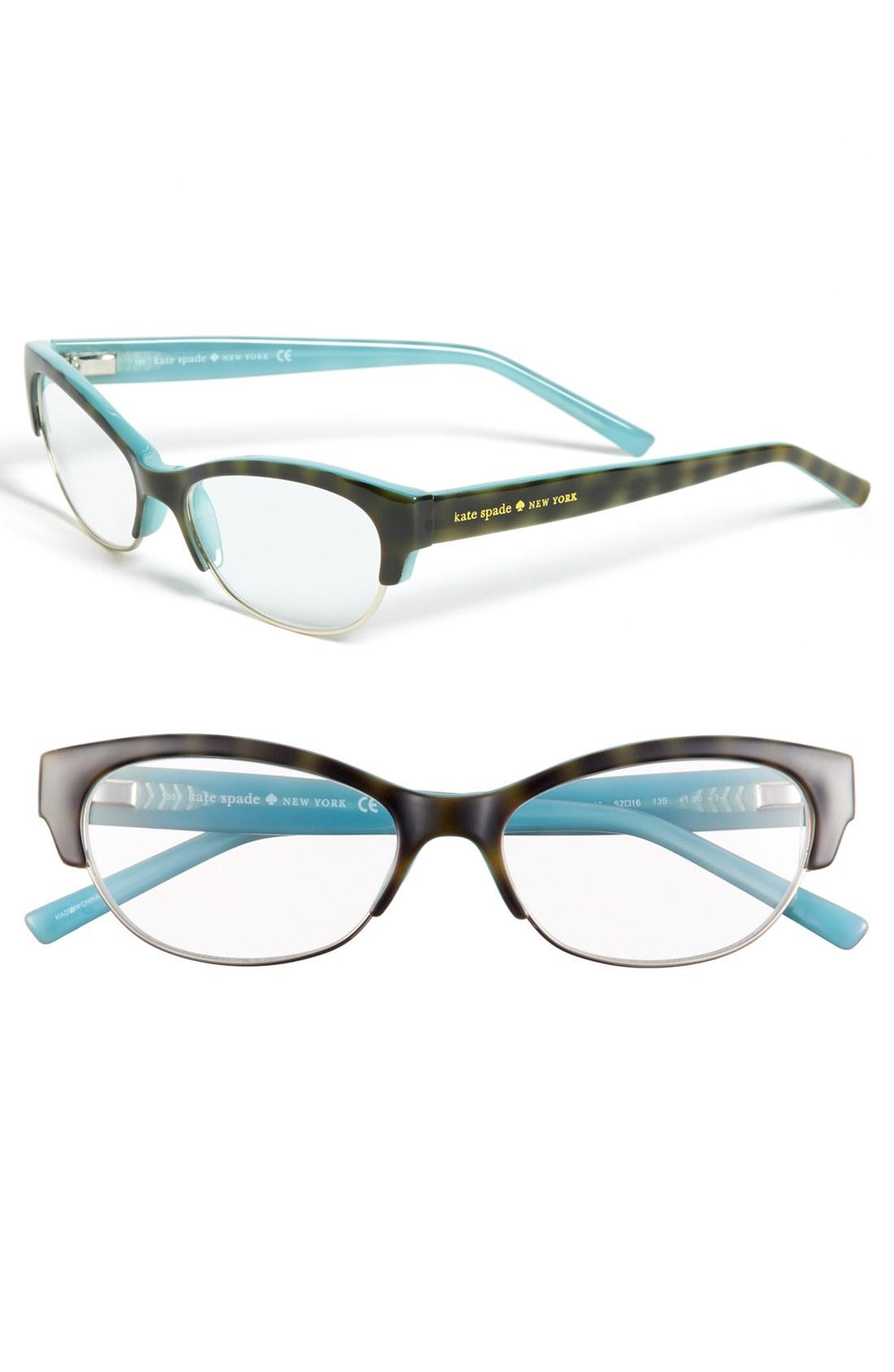 kate spade aleta 52mm reading glasses in blue tortoise