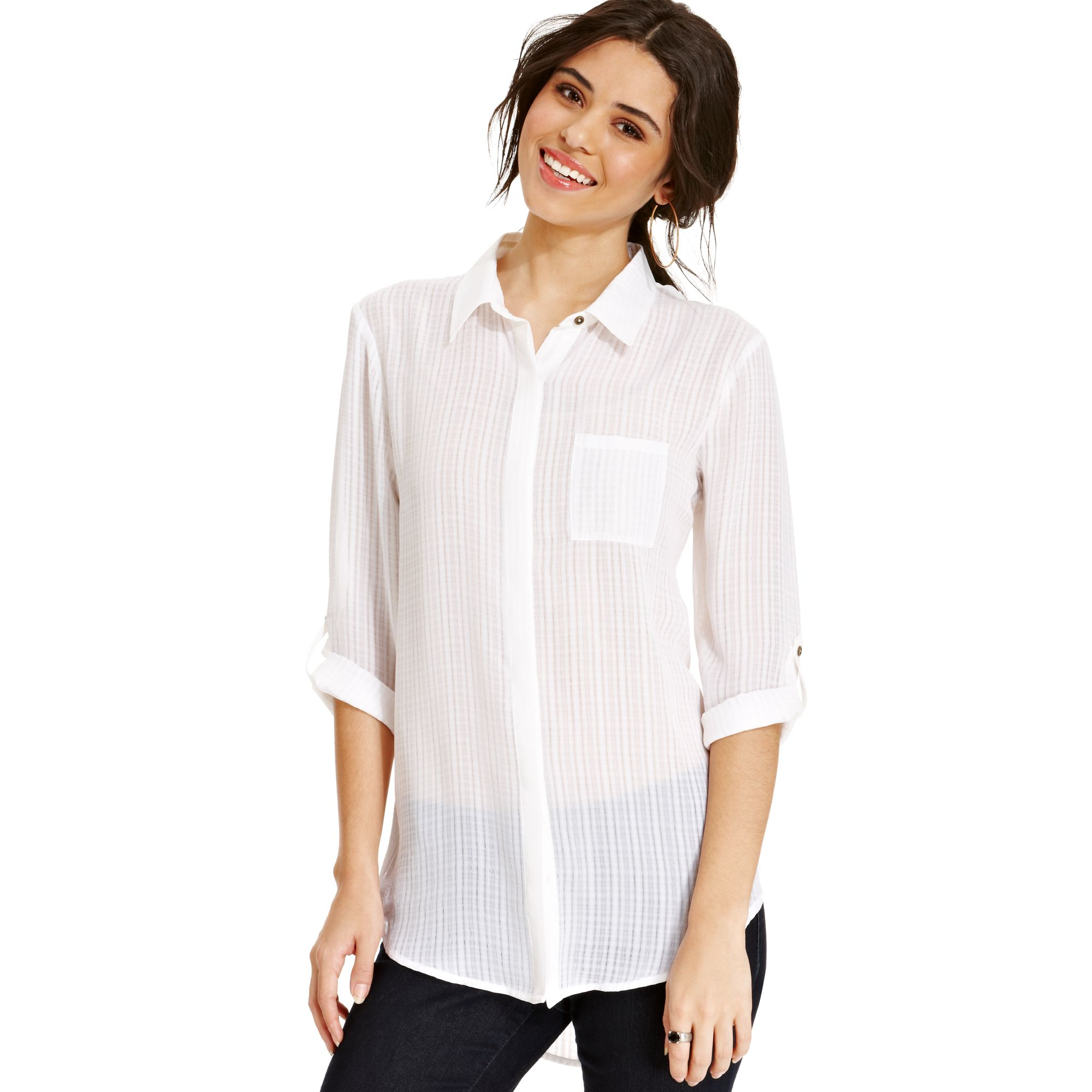 Lyst - Keds Juniors Sheer Plaid Button down Shirt in White