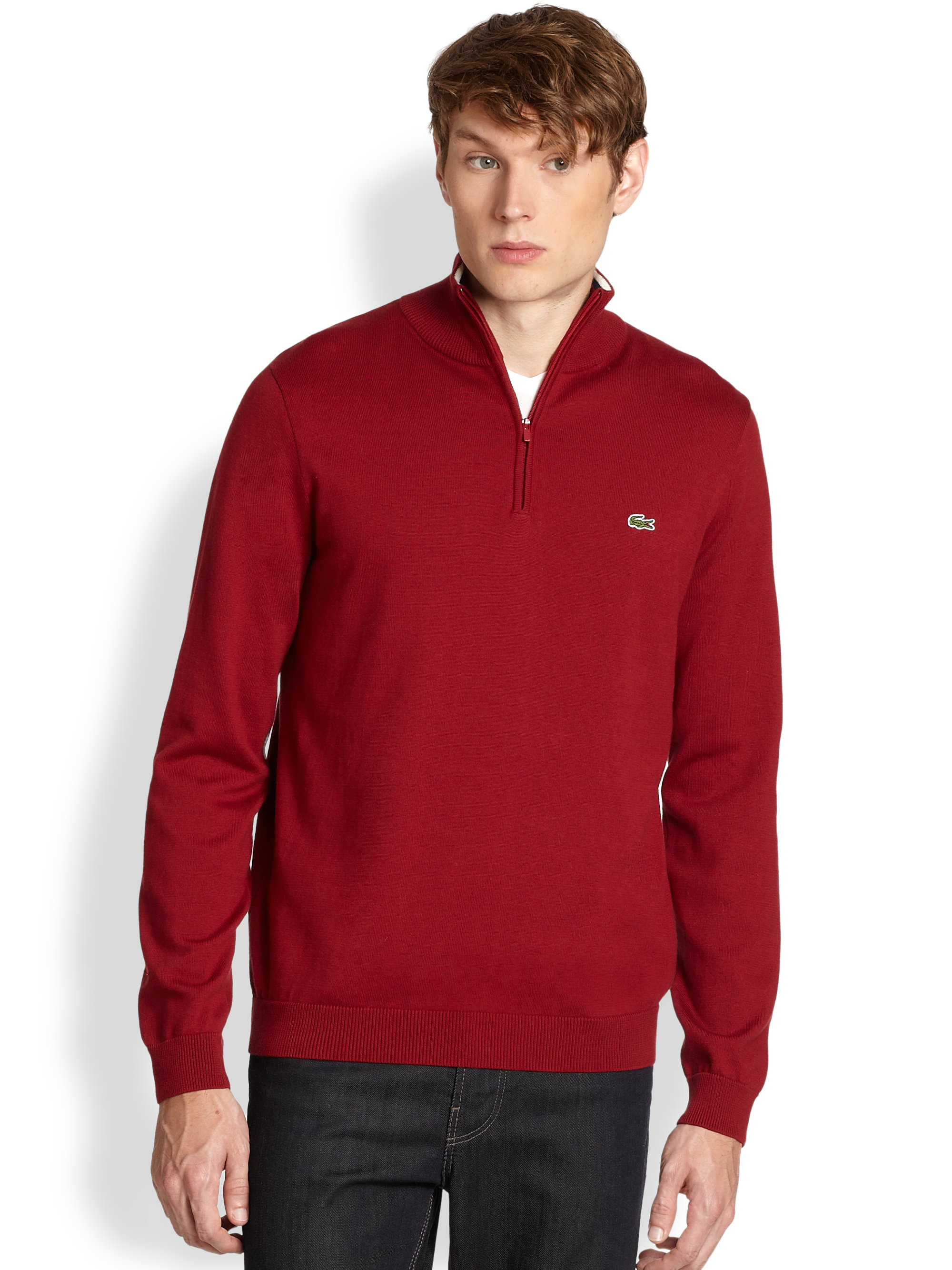 Lacoste Halfzip Cotton Sweater in Red for Men | Lyst