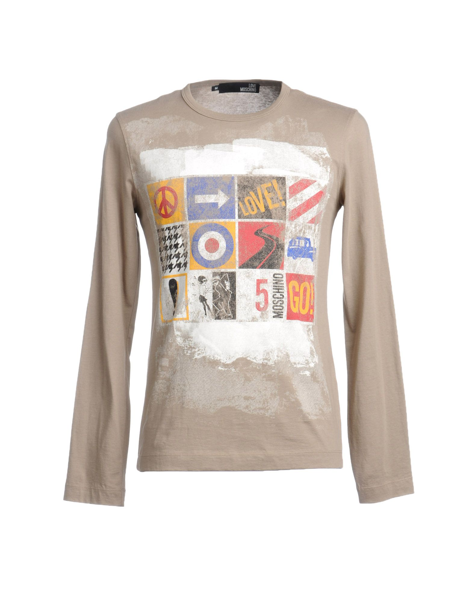 love moschino long sleeve t shirt in khaki for men lyst. Black Bedroom Furniture Sets. Home Design Ideas