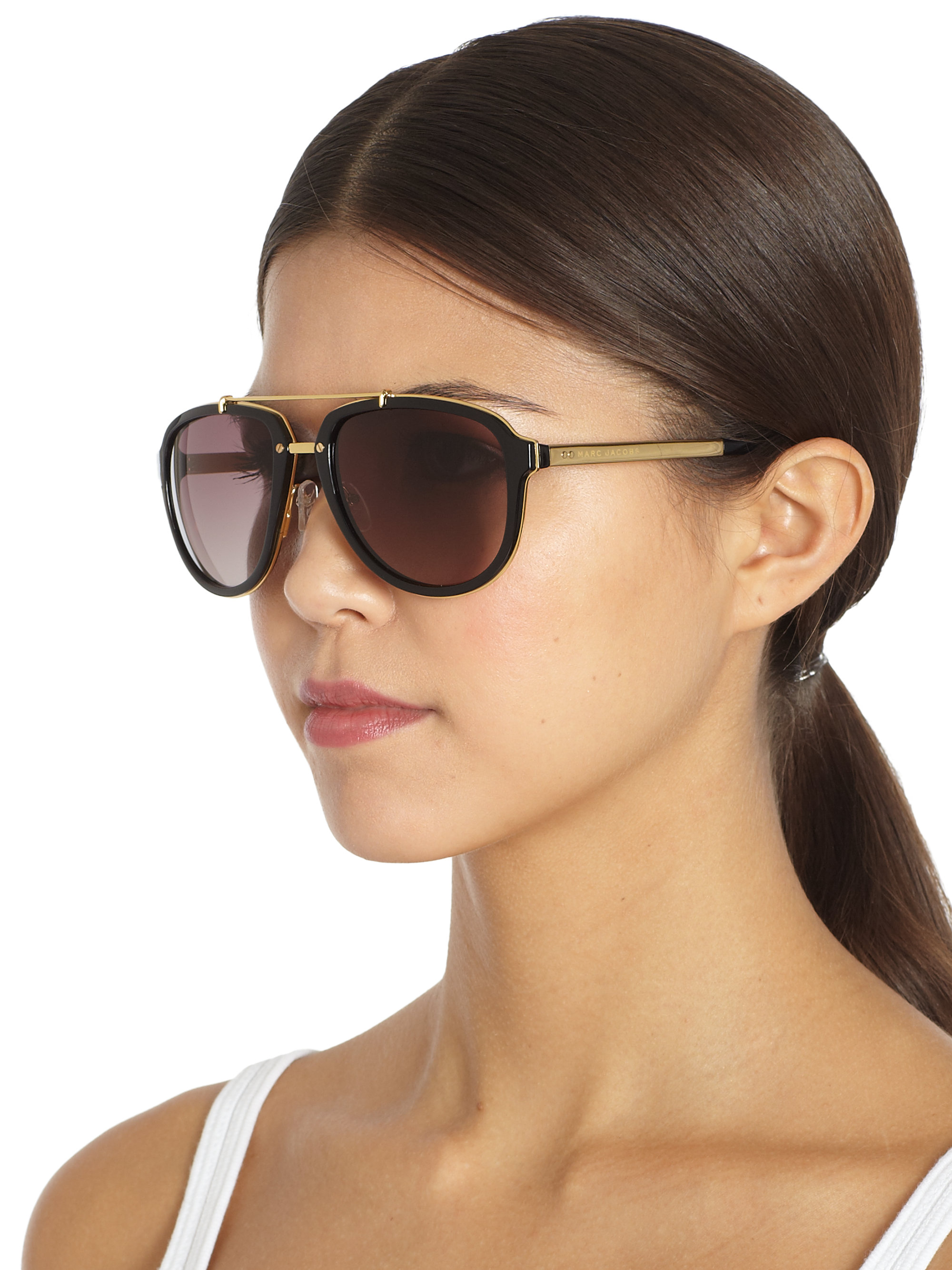 Marc Jacobs Oversized Aviator Sunglasses  marc jacobs plastic metal aviator sunglasses in black lyst