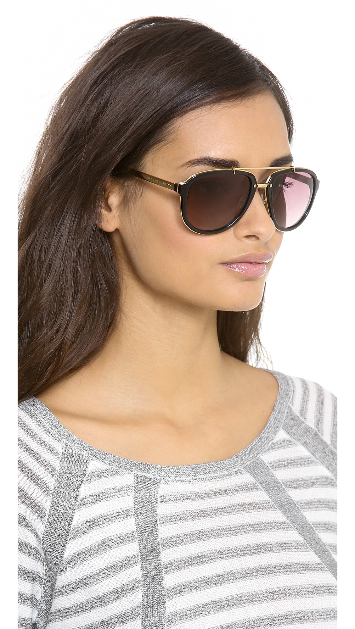 Marc Jacobs Oversized Aviator Sunglasses  marc jacobs aviator sunglasses in black lyst