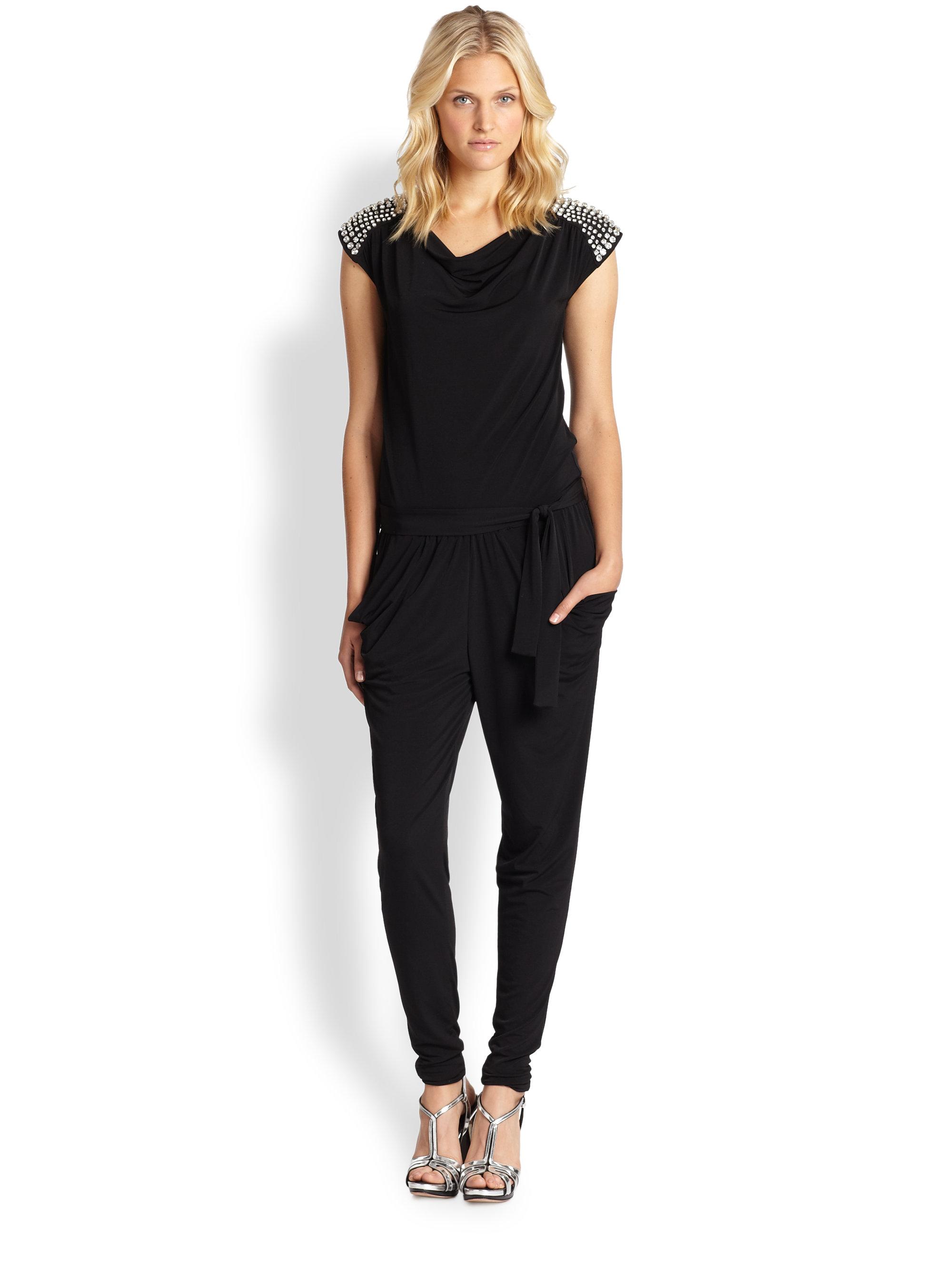 michael michael kors cowlneck jumpsuit in black lyst. Black Bedroom Furniture Sets. Home Design Ideas