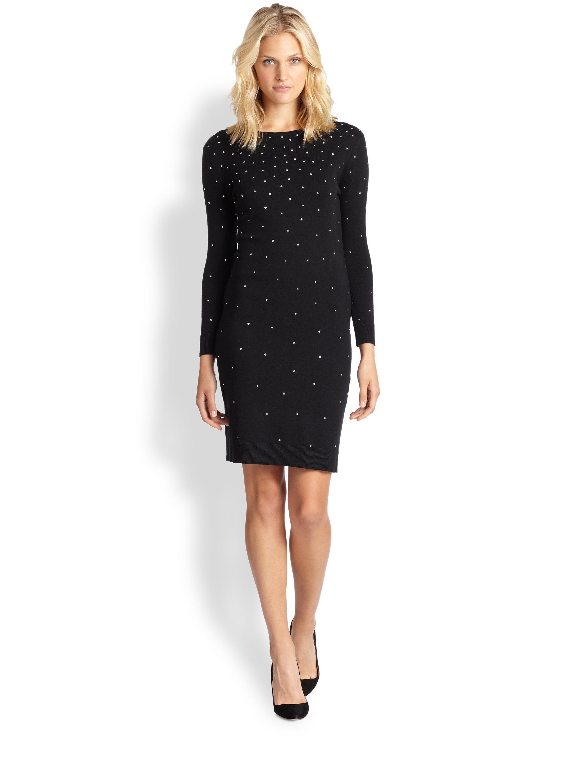 82dcbf857cc MICHAEL Michael Kors Studded Sweater Dress Petite in Black - Lyst