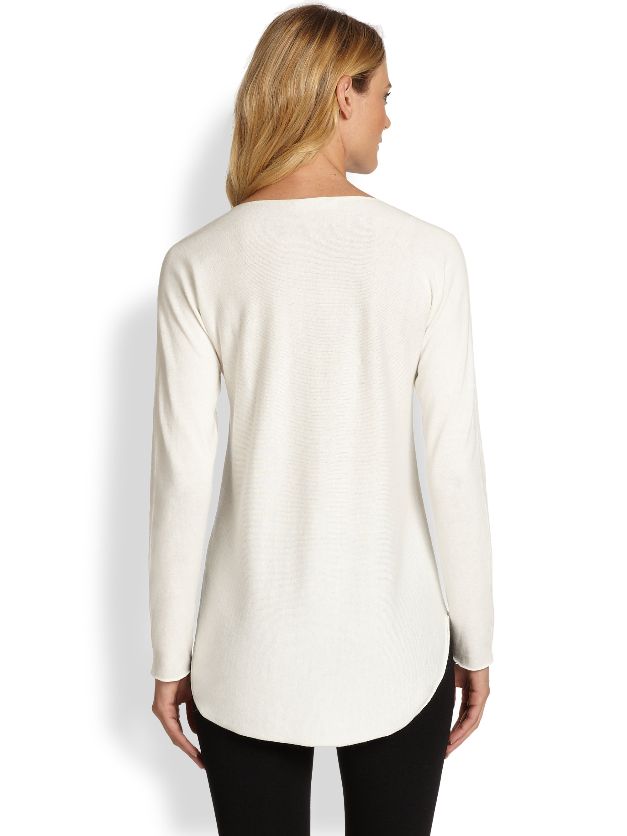 michael michael kors beaded neck hilo sweater in white lyst. Black Bedroom Furniture Sets. Home Design Ideas