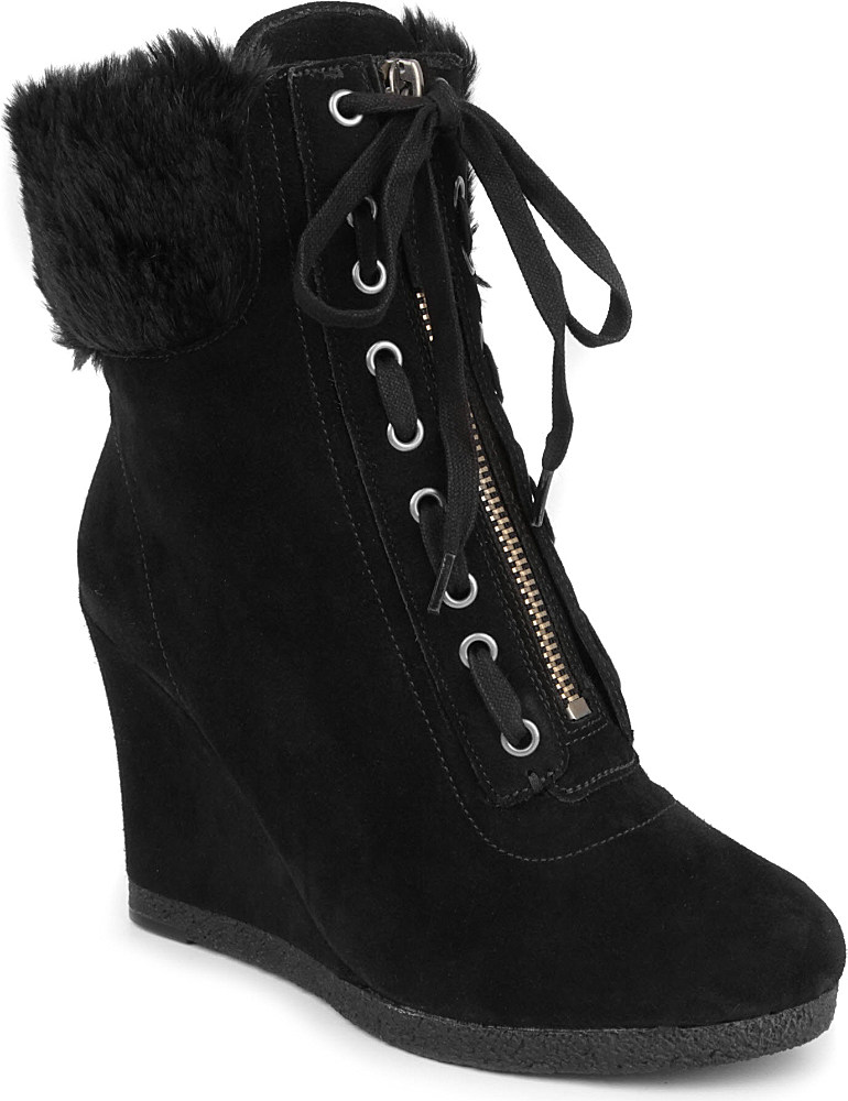 nine west bayla suede wedge ankle boots in black lyst