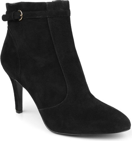 nine west mainstay suede ankle boots in black lyst