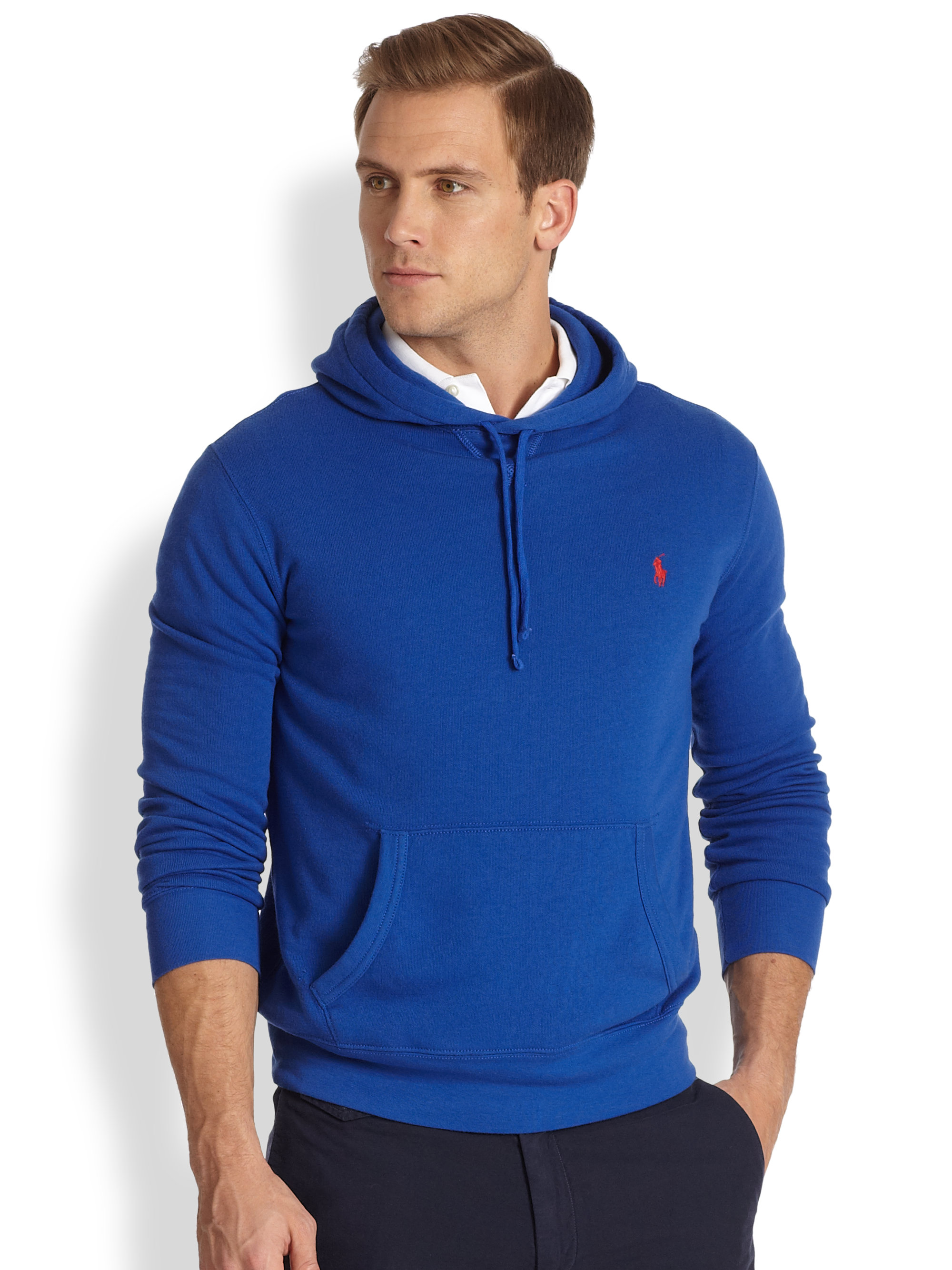 polo ralph lauren atlantic terry hooded pullover in red for men lyst. Black Bedroom Furniture Sets. Home Design Ideas