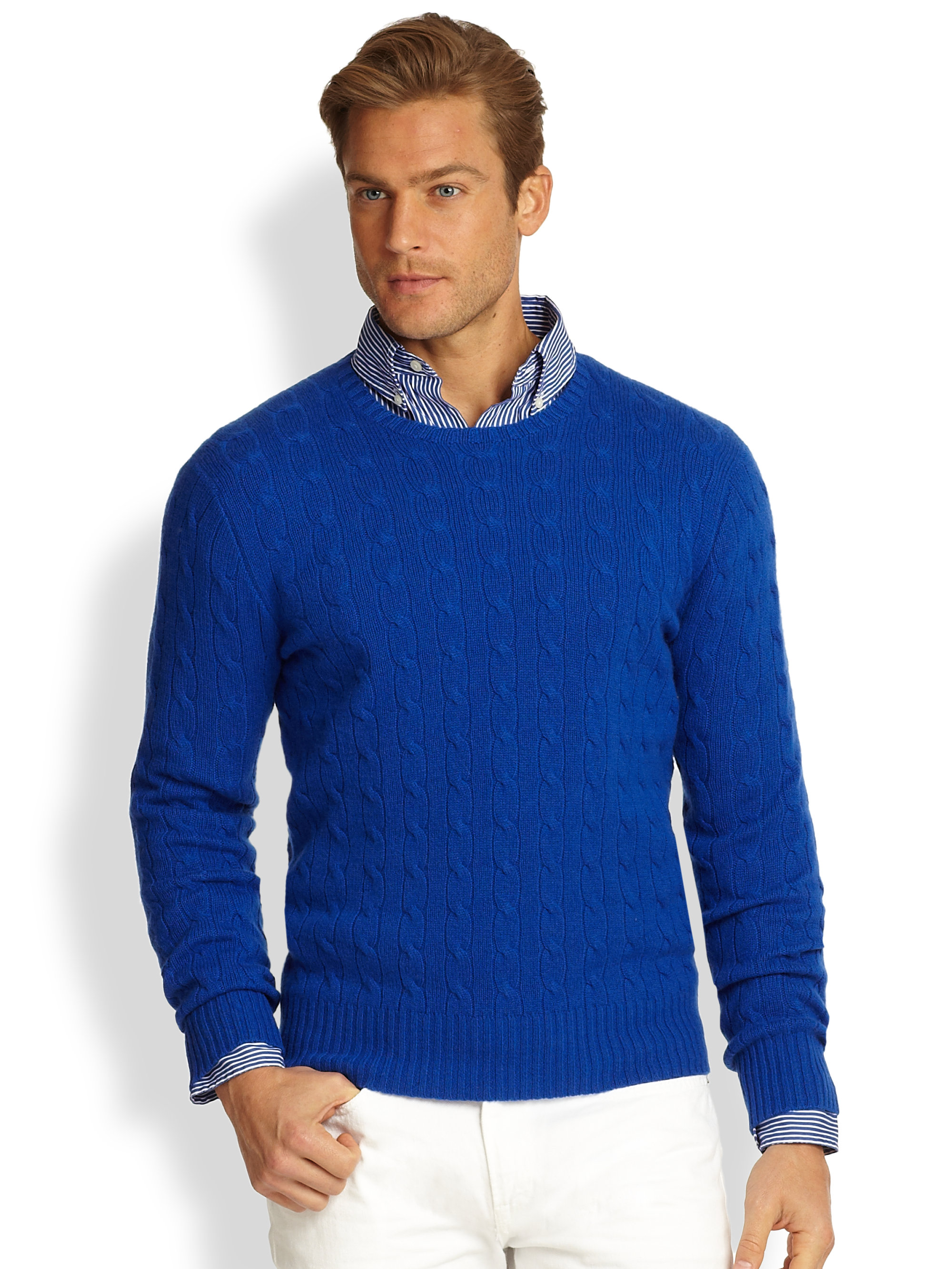 e1a5d4ed4fce0 Polo Ralph Lauren Cableknit Cashmere Sweater in Blue for Men - Lyst