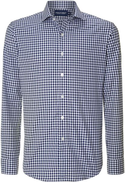 Polo Ralph Lauren Golf Gingham Check Long Sleeve Shirt In
