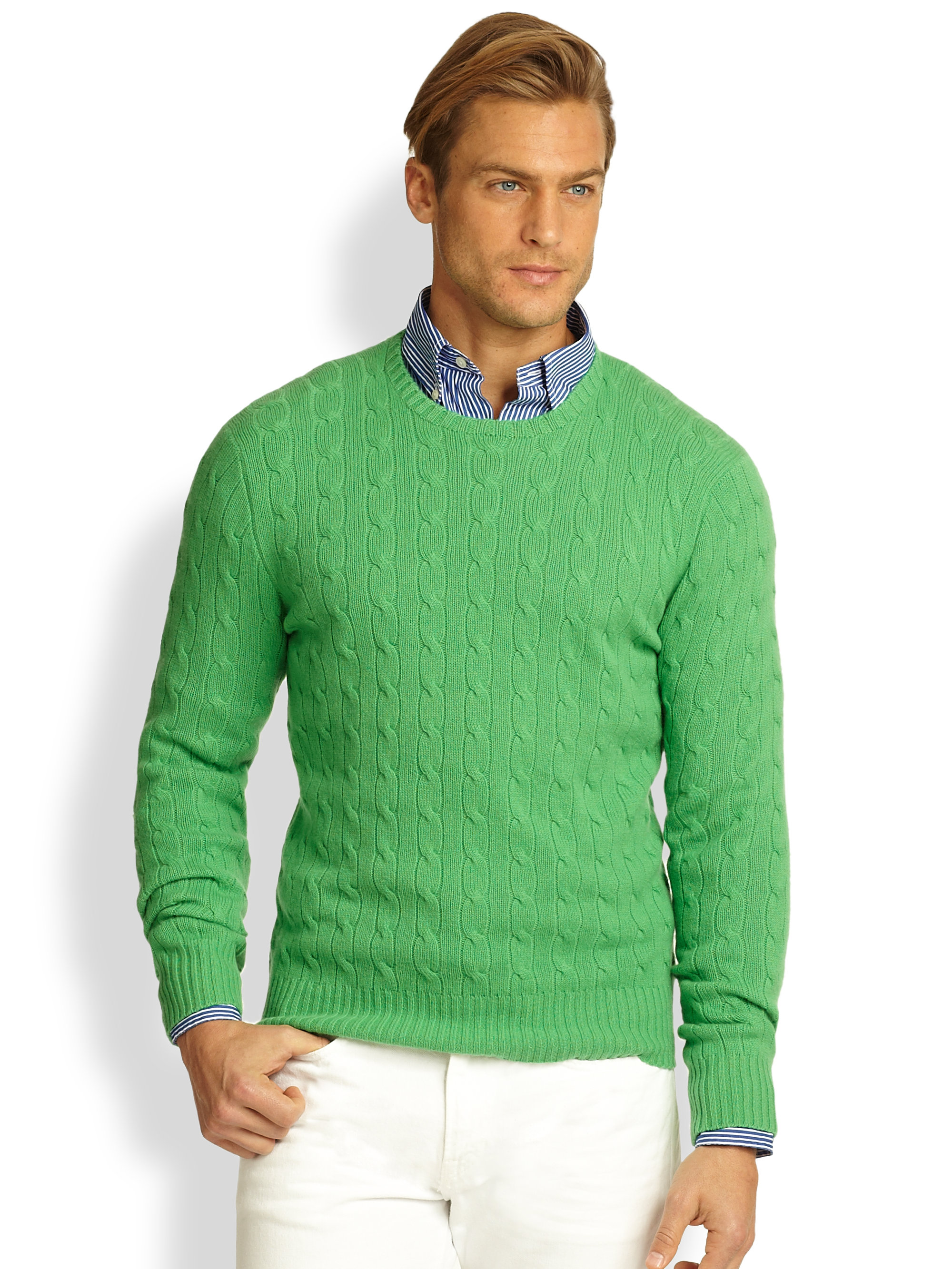 Polo ralph lauren Cableknit Cashmere Sweater in Green for Men | Lyst