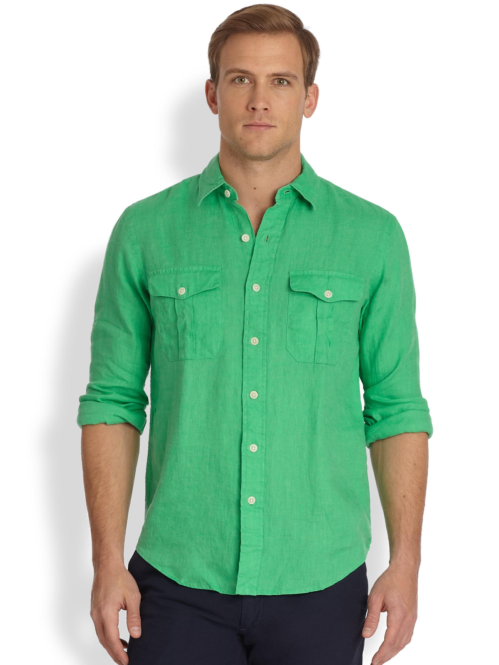 Lyst Polo Ralph Lauren Linen Military Workshirt In Green