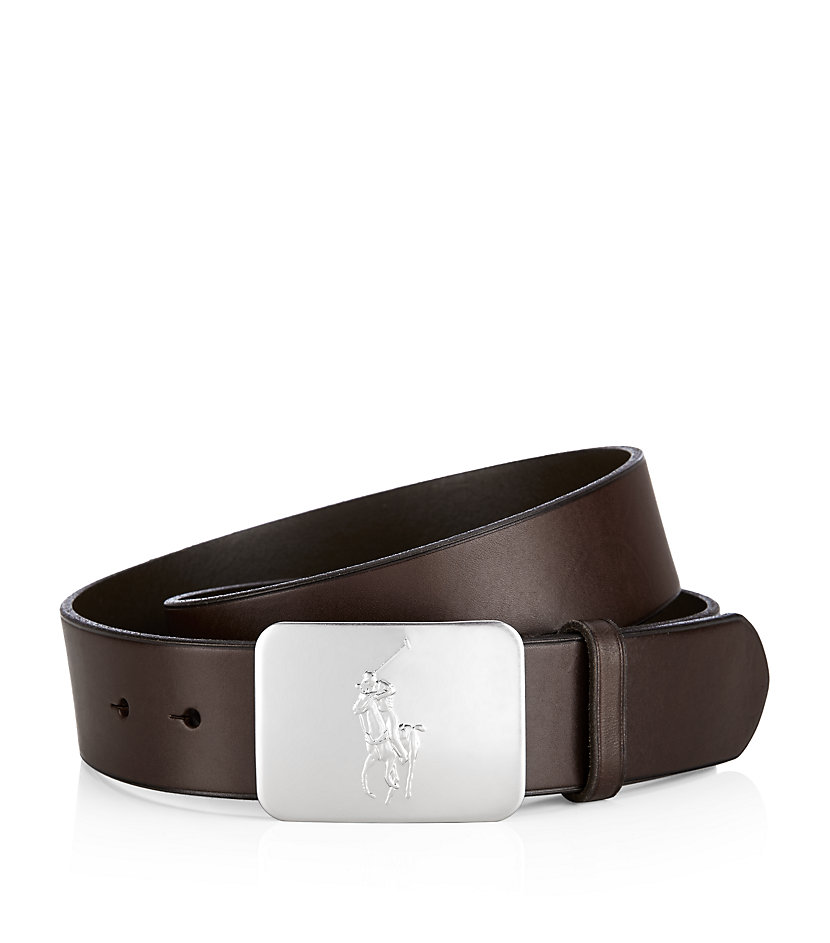 polo ralph pony plaque leather belt in black for