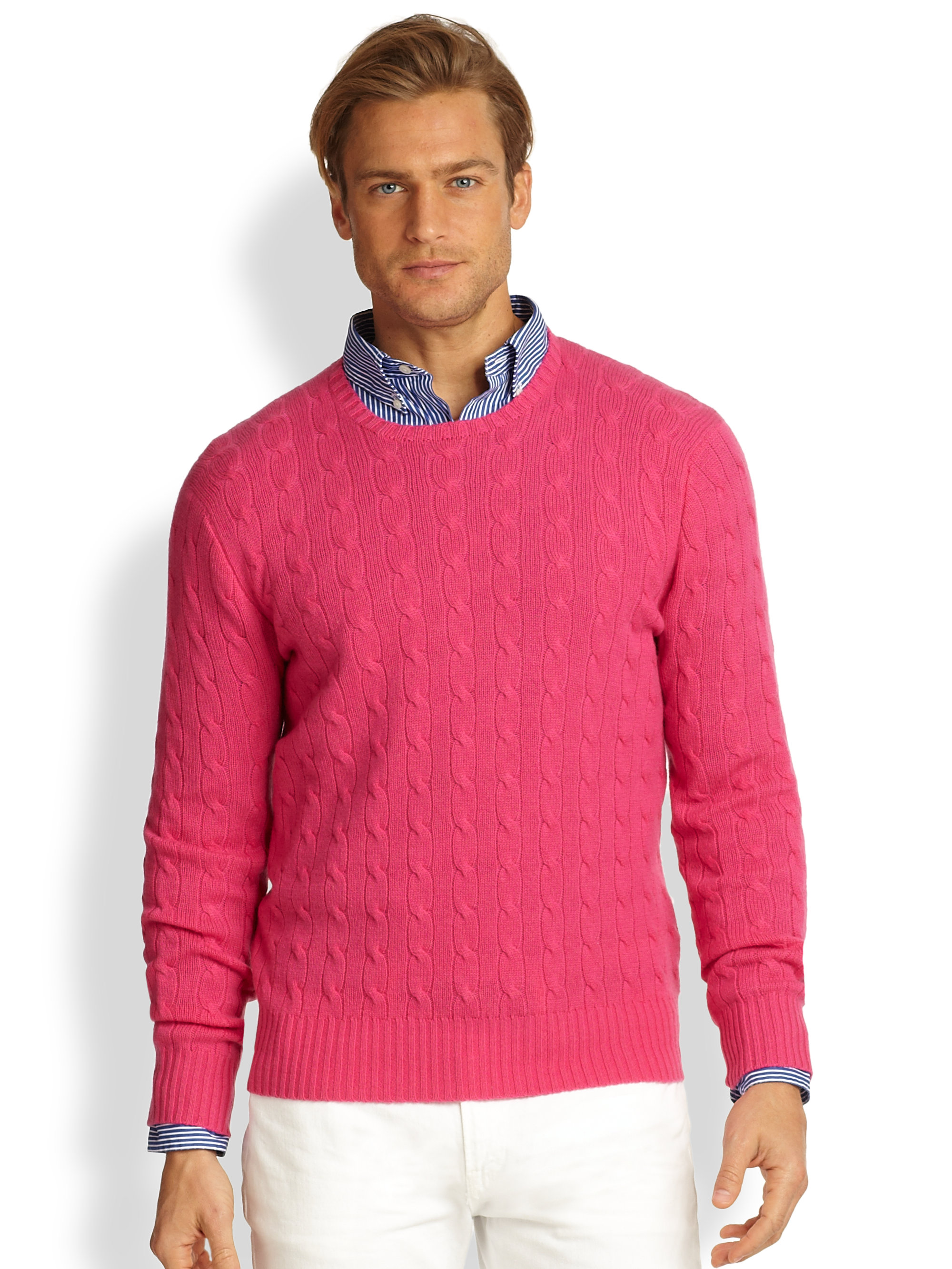 Polo Ralph Lauren Cableknit Cashmere Sweater In Ultra Pink