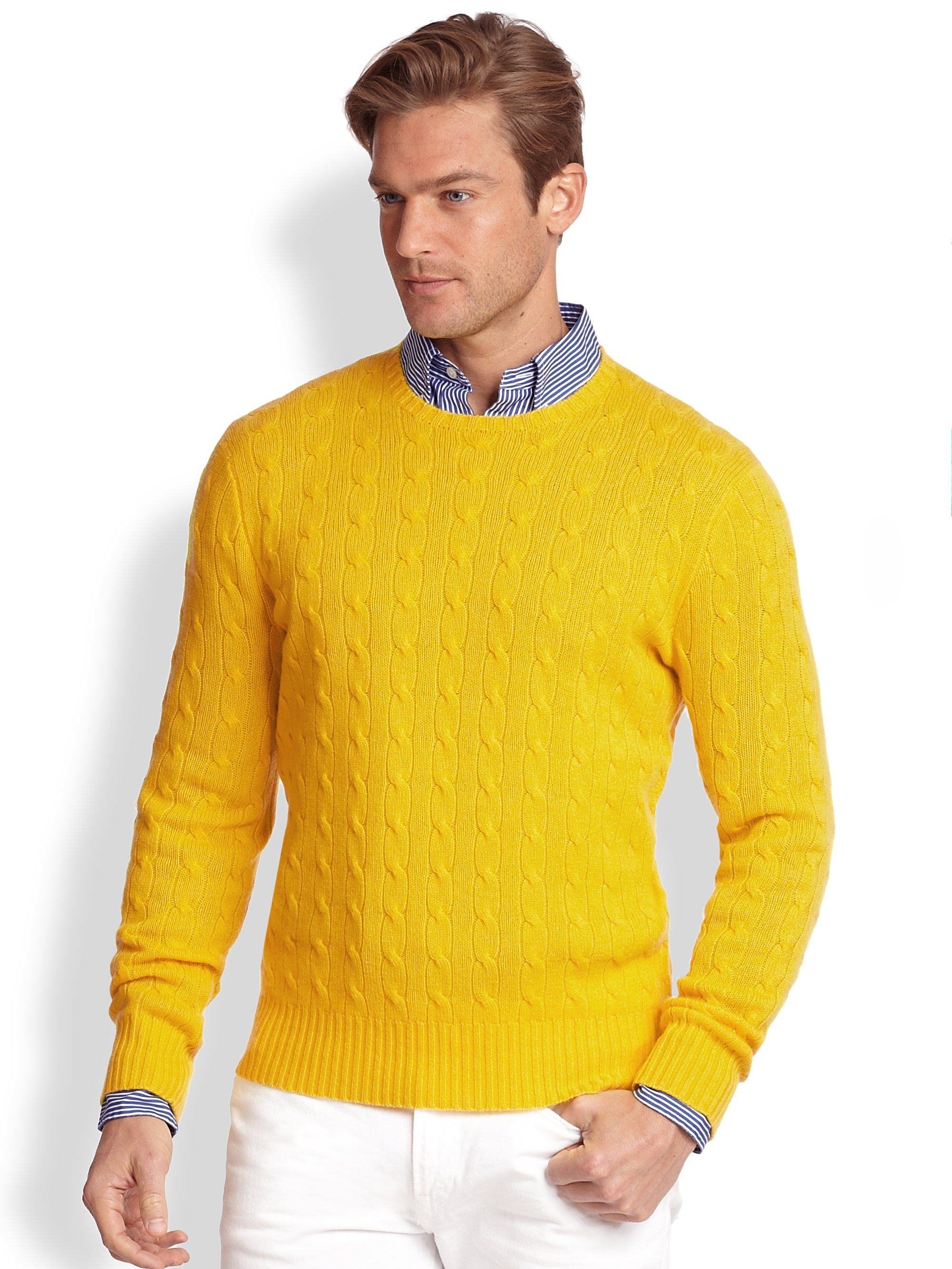 Polo Ralph Lauren Cableknit Cashmere Sweater in Yellow for ...