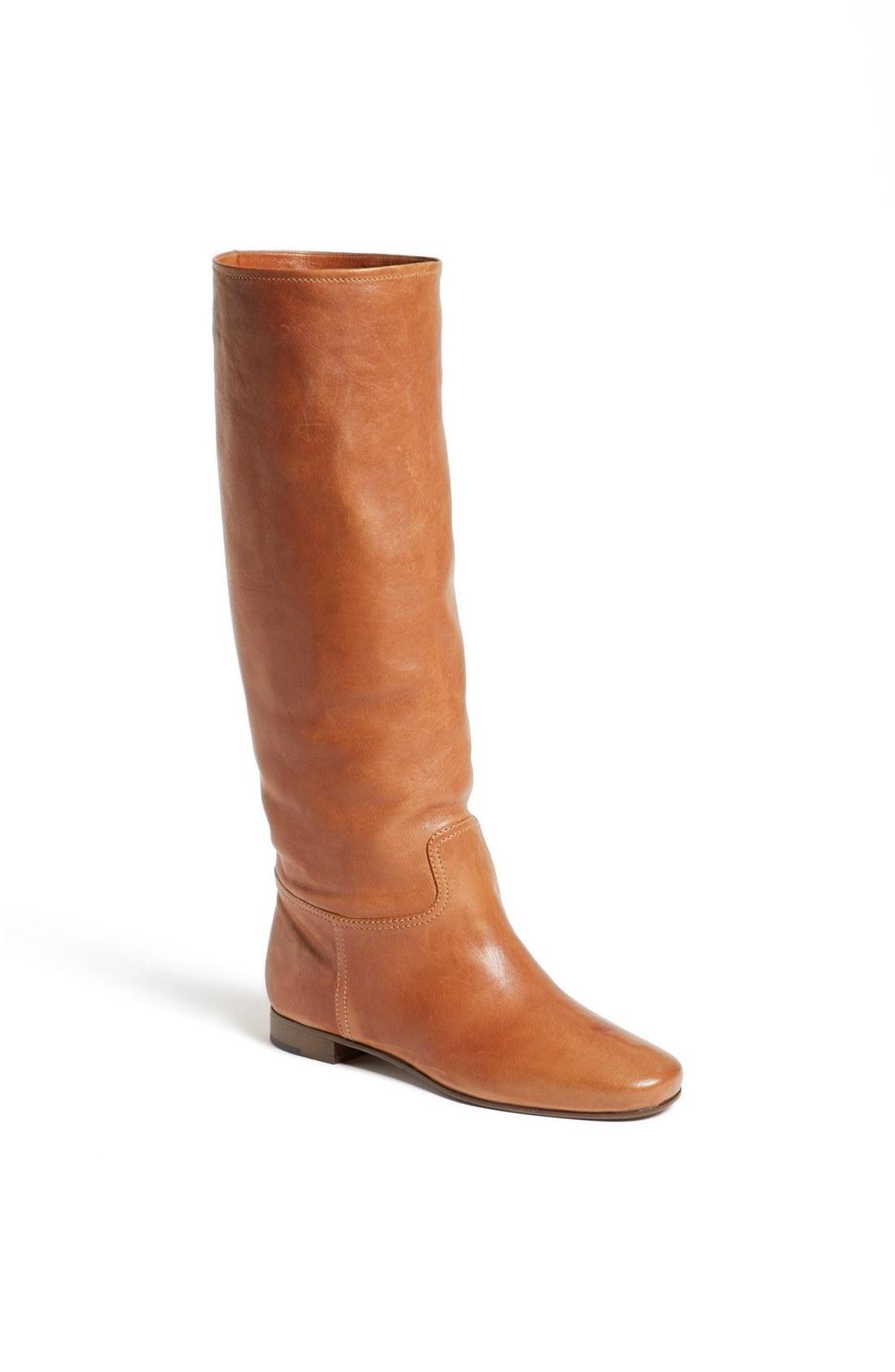 prada scrunchy flat boot in brown luggage lyst