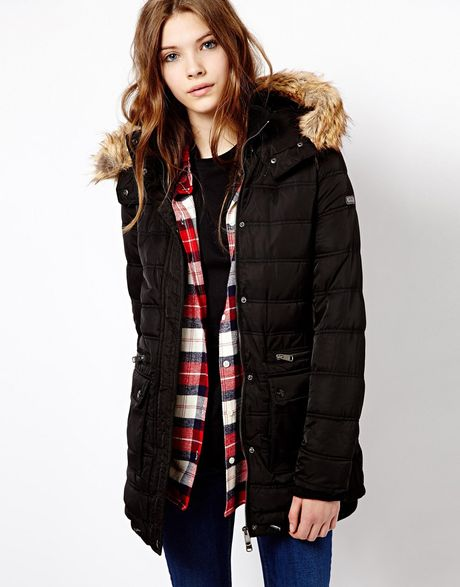 Pull Amp Bear Padded Coat With Faux Fur Hood In Black Lyst