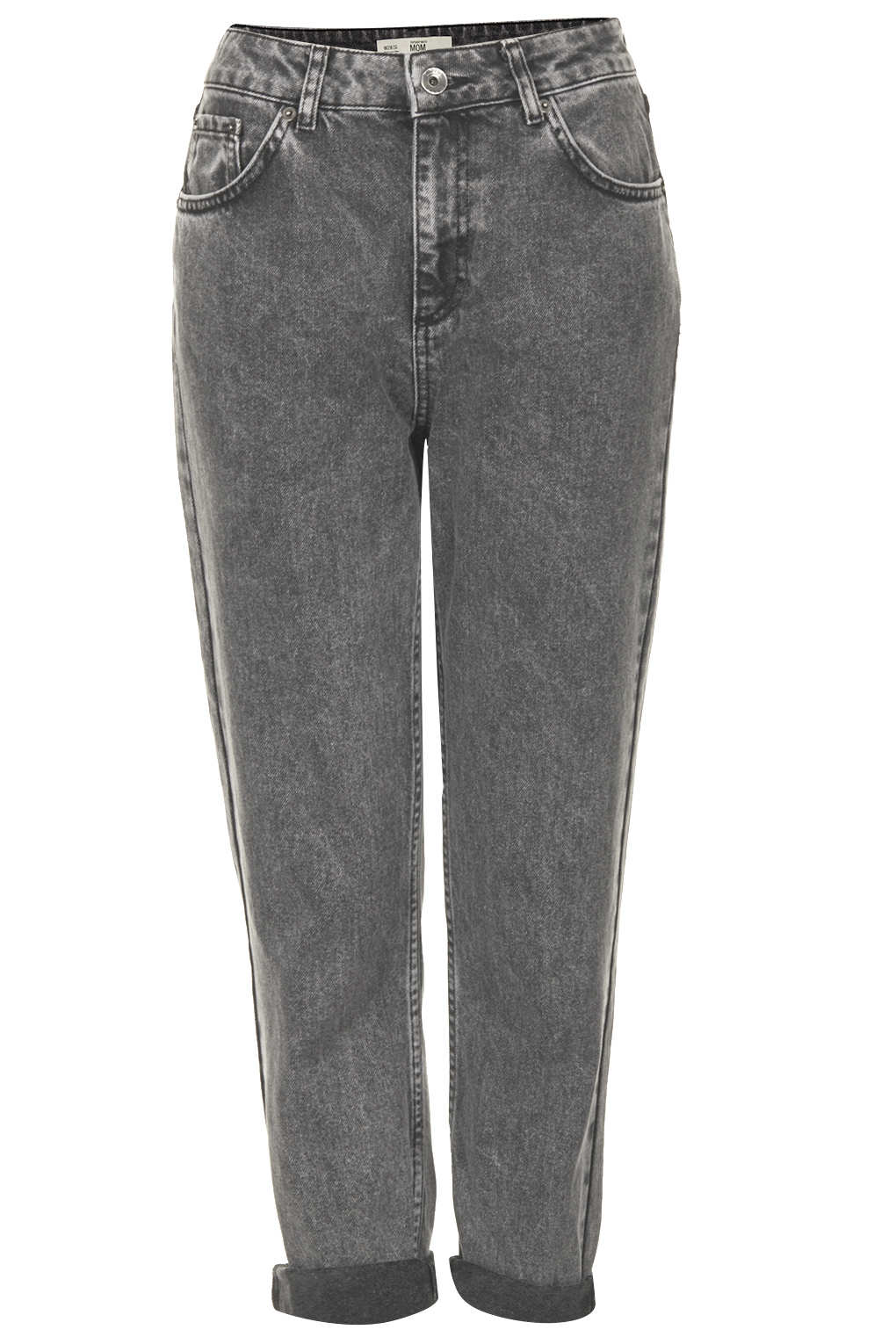 Topshop Petite Moto Black Wash Mom Jeans In Gray Lyst