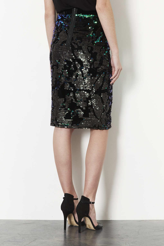 topshop velvet sequin pencil skirt in black lyst