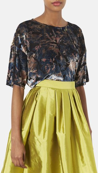 Topshop Floral Burnout Velvet Top In Blue Blue Multi Lyst