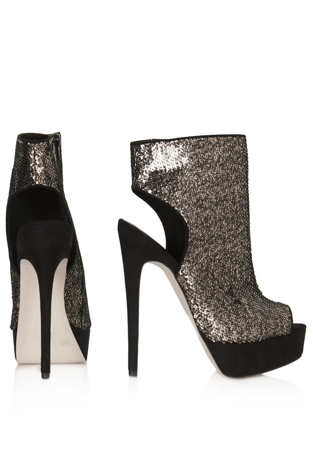 TOPSHOP Absinth Stiletto Cut Out Boots in Gold (Metallic)