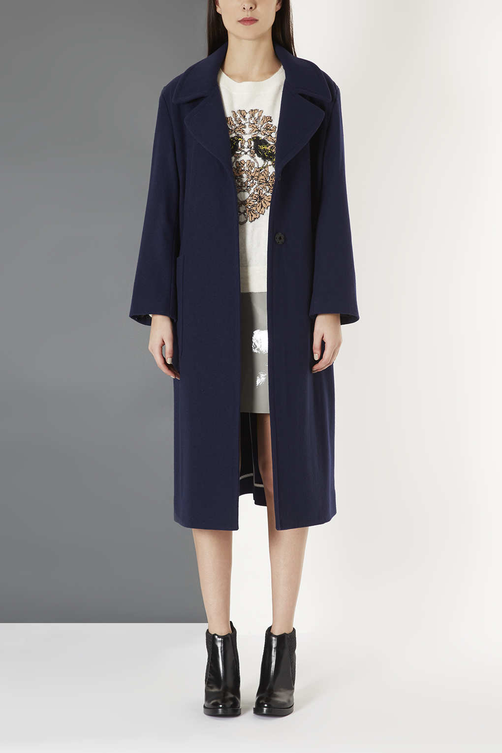 Topshop Long Wool Pocket Coat By Boutique In Blue Lyst