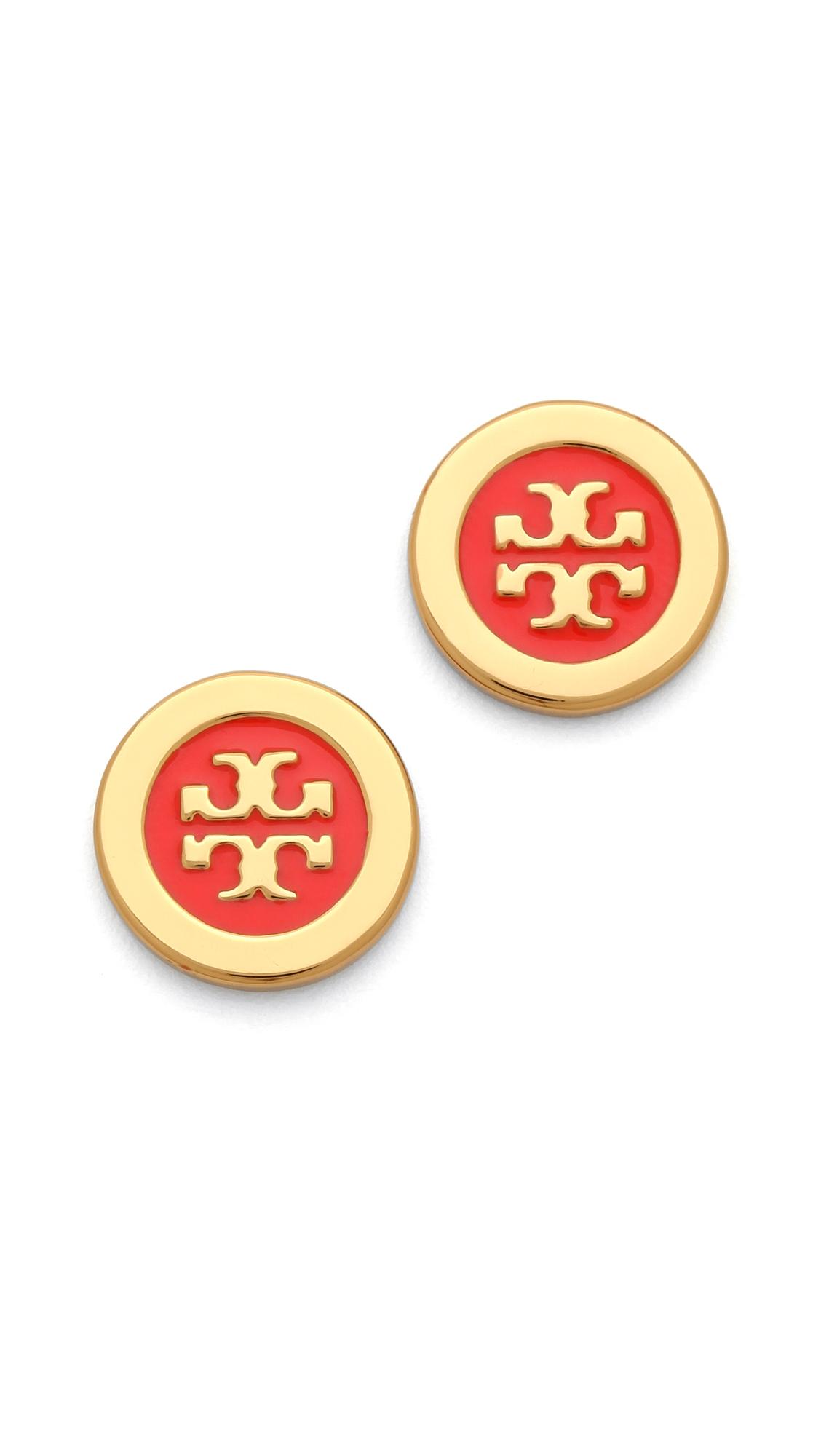 Tory Burch Logo Enamel Stud Earrings In Red Lyst
