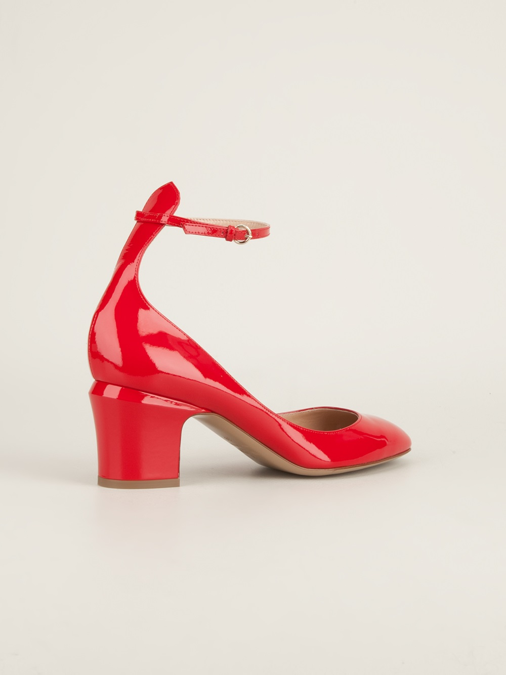Valentino Ankle Strap Pump In Red Lyst