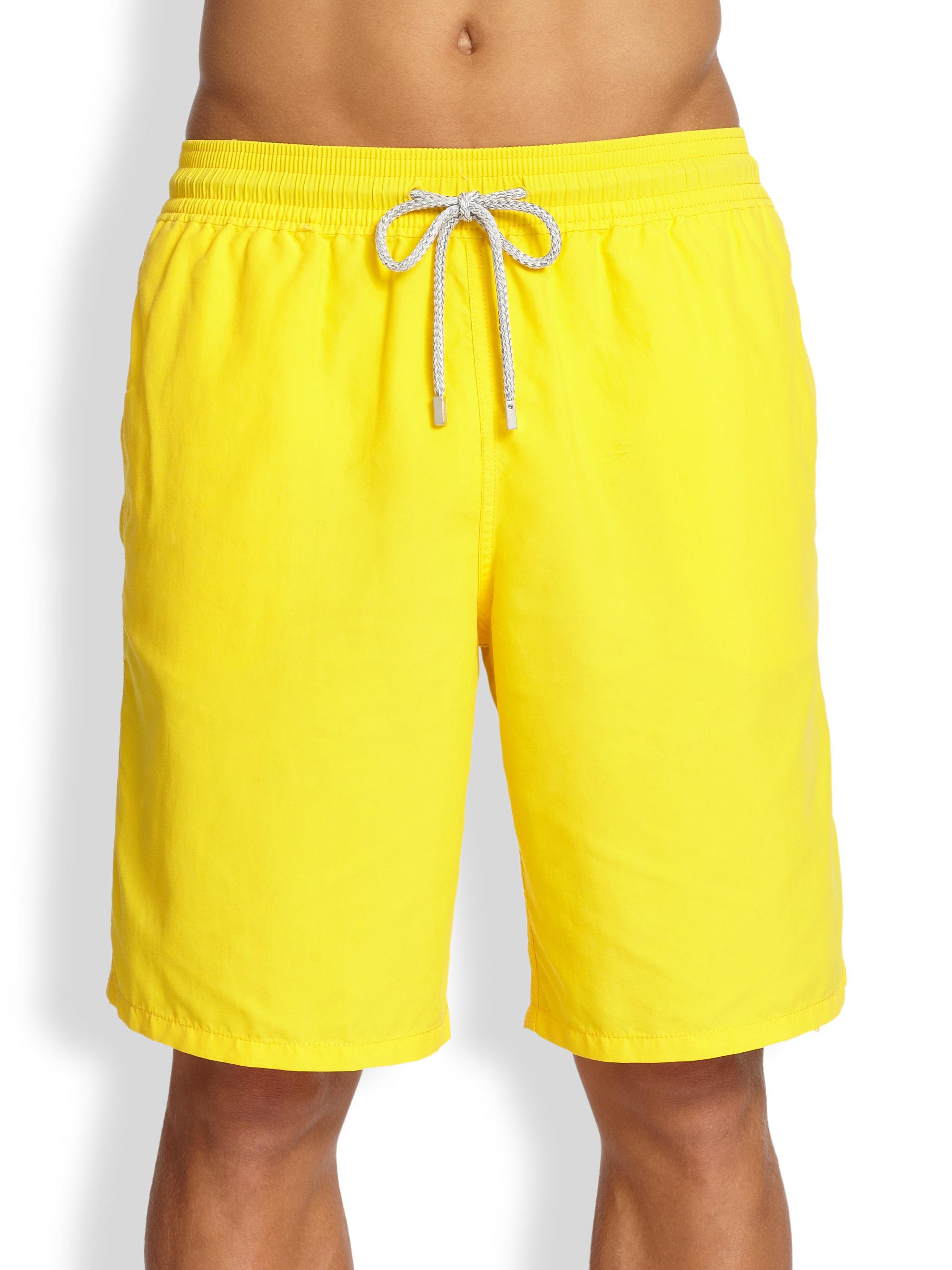 Vilebrequin Okoa Solid Swim Trunks in Yellow for Men (CORN ...