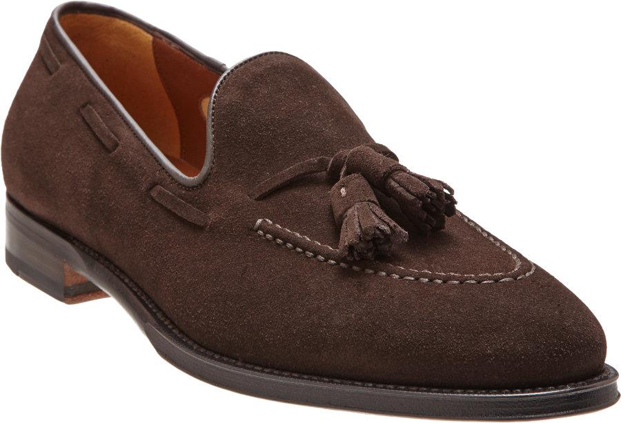 Lyst Battistoni Suede Tassel Loafer In Brown For Men