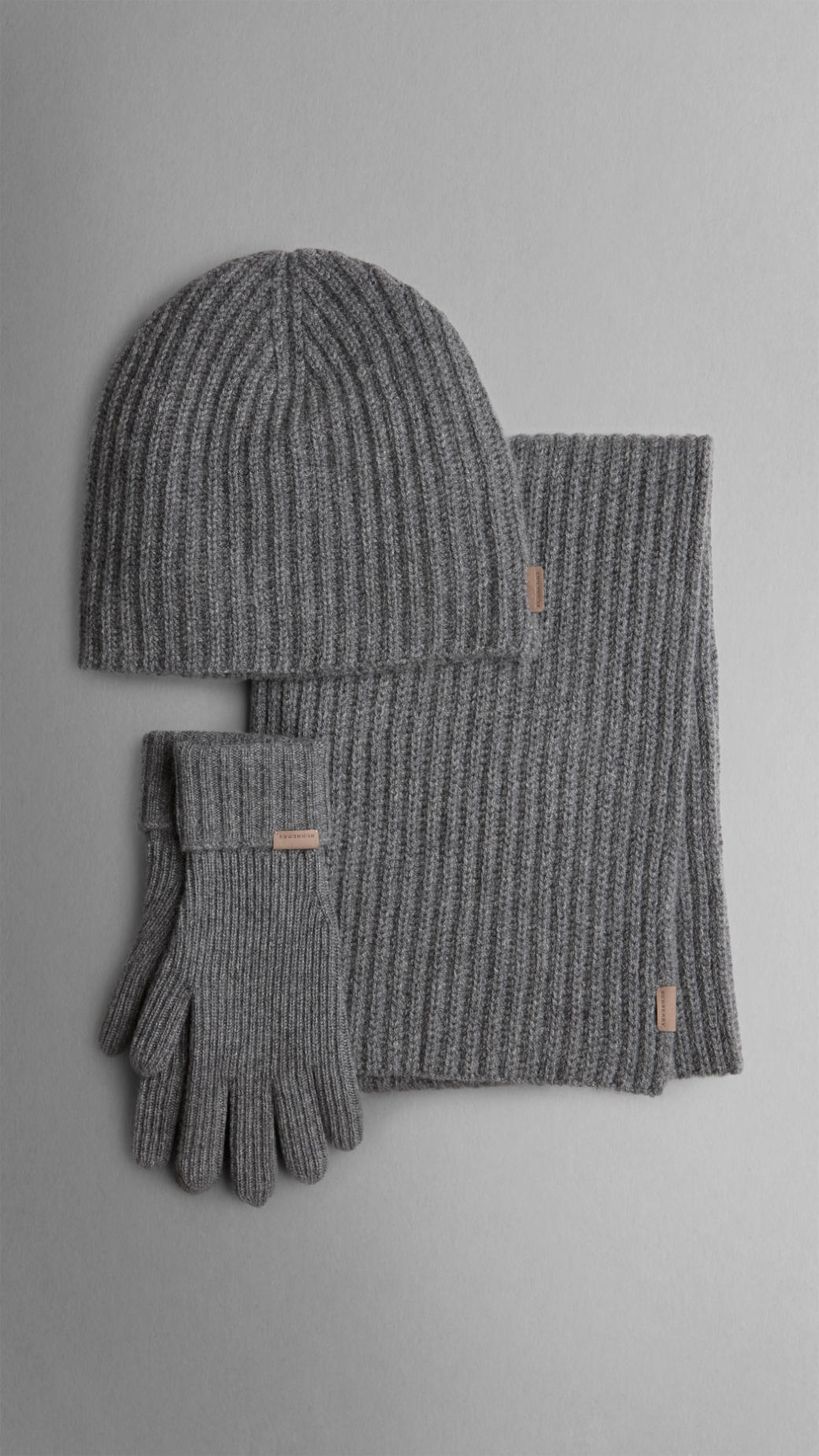 Lyst - Burberry Cashmere Ribbed Knit Hat Gloves and Scarf Set in ... 0eca52eada2