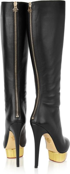 Charlotte Olympia Bonnie Leather Platform Knee Boots In