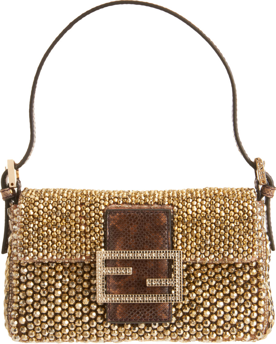 shopping fendi mini beaded baguette bag in metallic lyst acd8b 2fc04 bbd16f54fe119