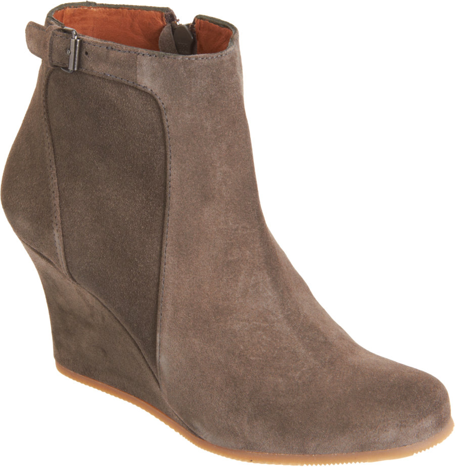 lanvin suede wedge ankle boot in gray grey lyst