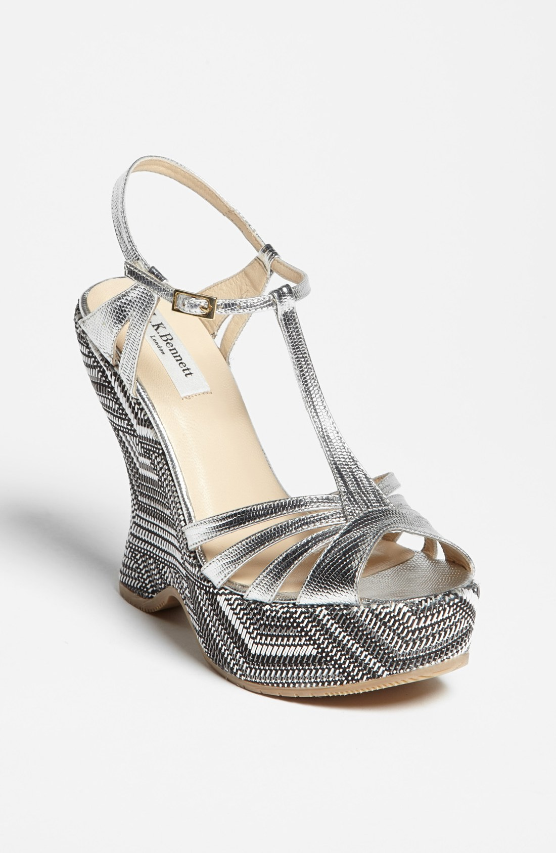 L K Bennett Lydia Wedge Sandal In Gray Silver Black