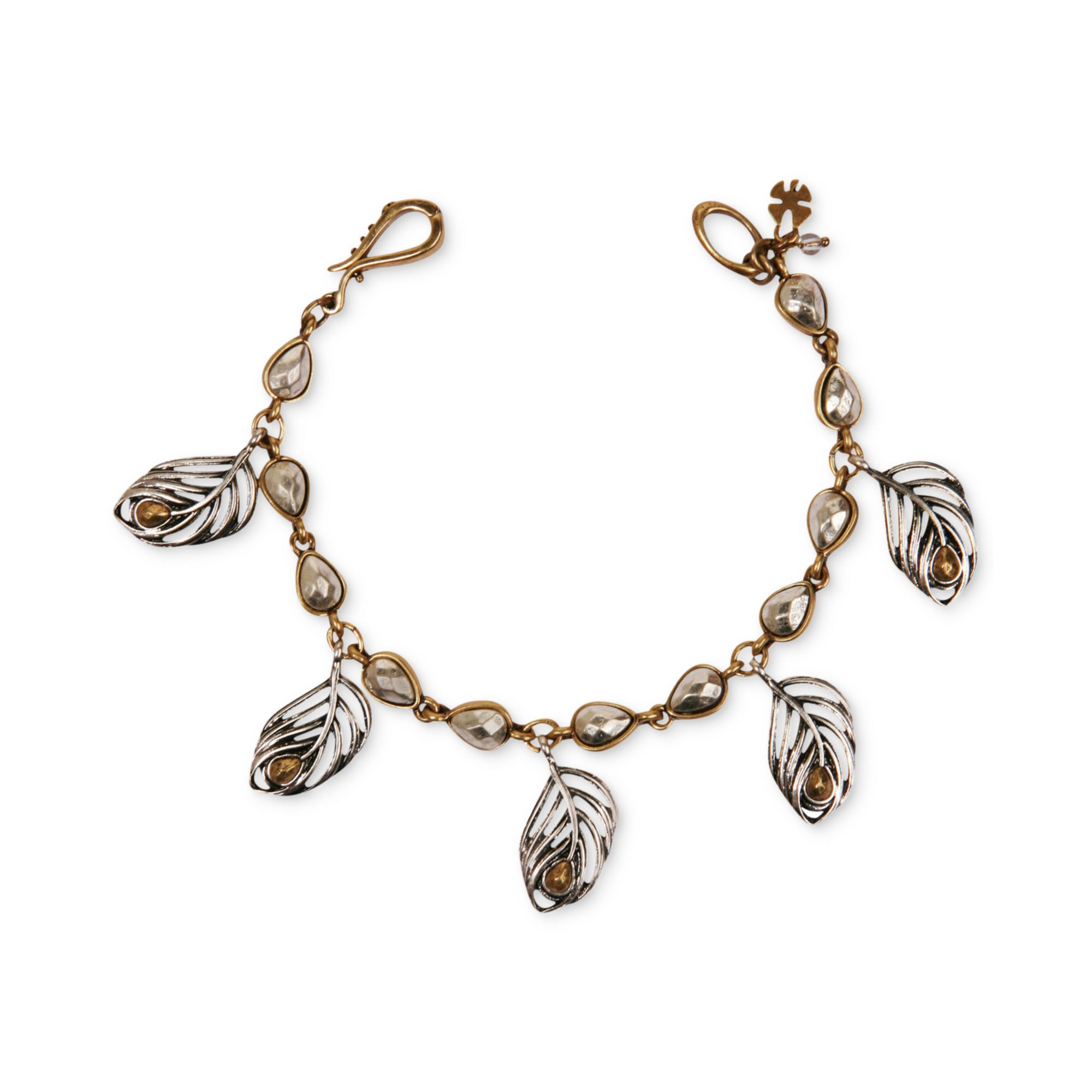 lyst lucky brand twotone dangling feather charm bracelet. Black Bedroom Furniture Sets. Home Design Ideas