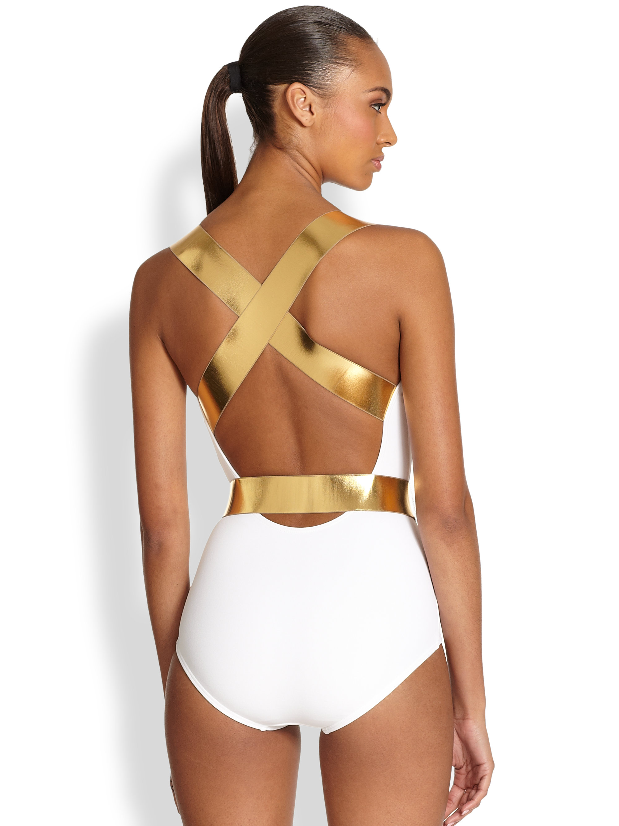 a231f863a4a4d Lyst - Michael Kors Onepiece Belted Swimsuit in White
