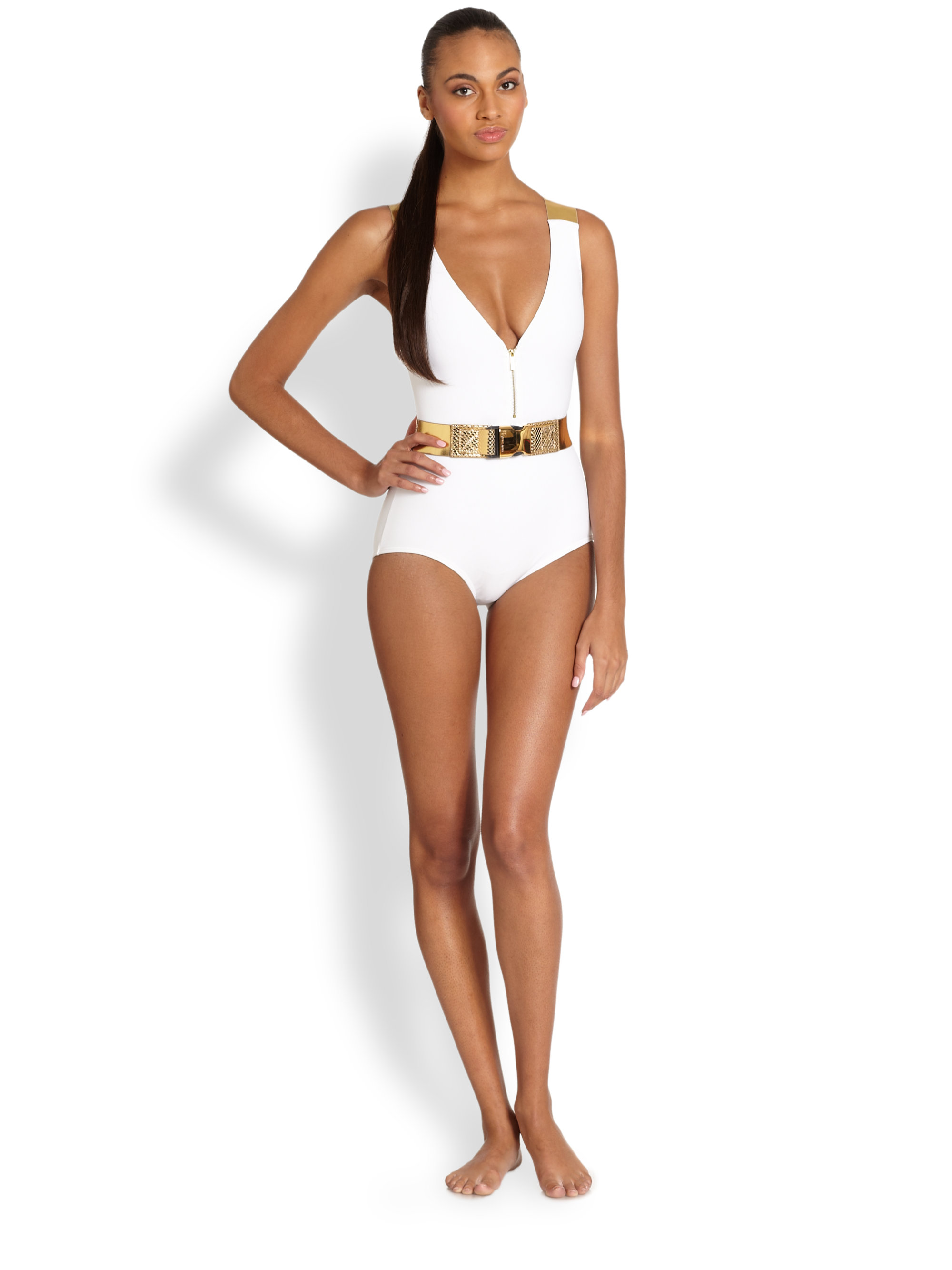 Michael Kors Onepiece Belted Swimsuit In White Lyst