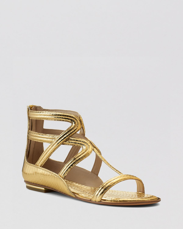 lyst michael kors flat gladiator sandals hunter in metallic. Black Bedroom Furniture Sets. Home Design Ideas