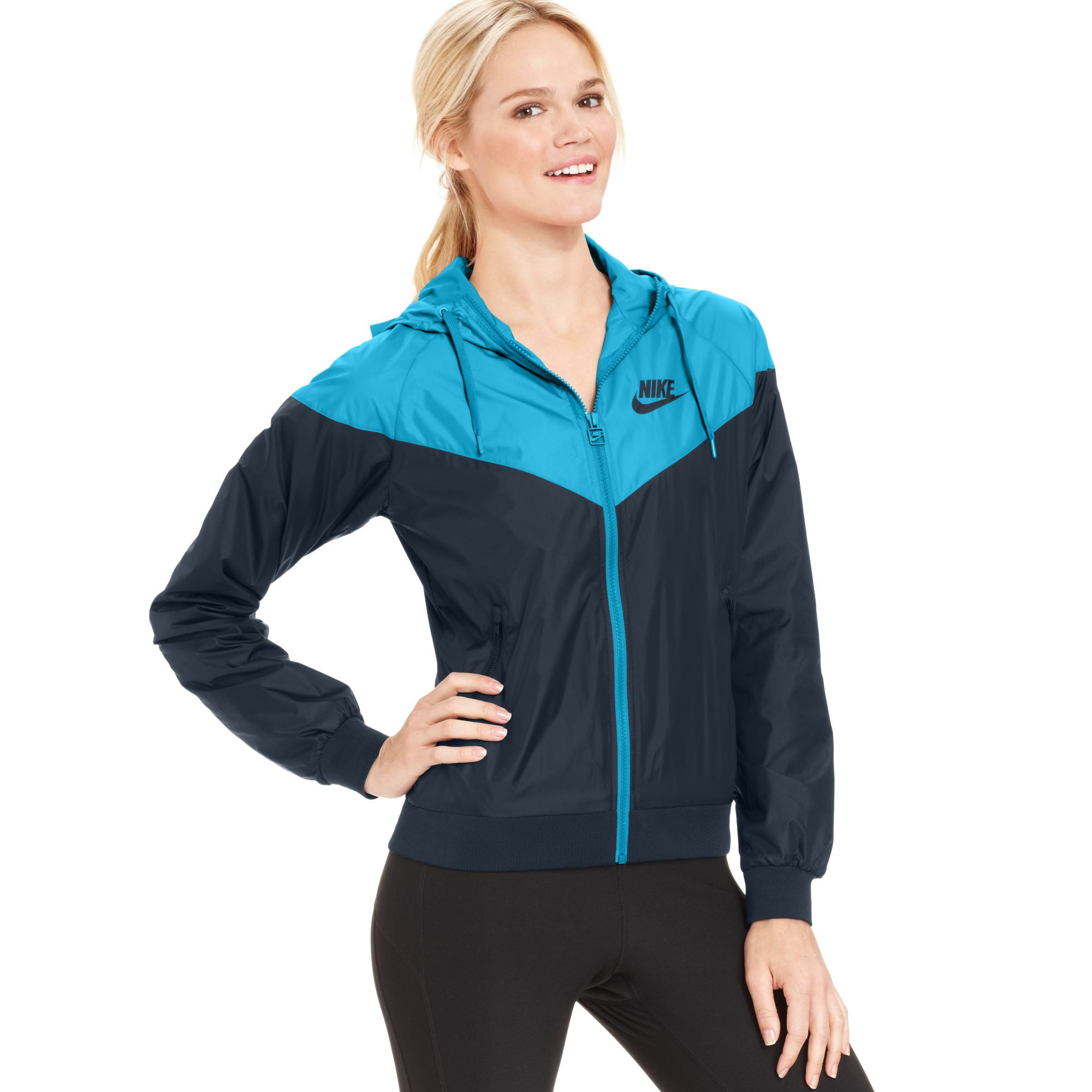 Lyst - Nike Colorblocked Hooded Windrunner Jacket in Blue 3109263ab0