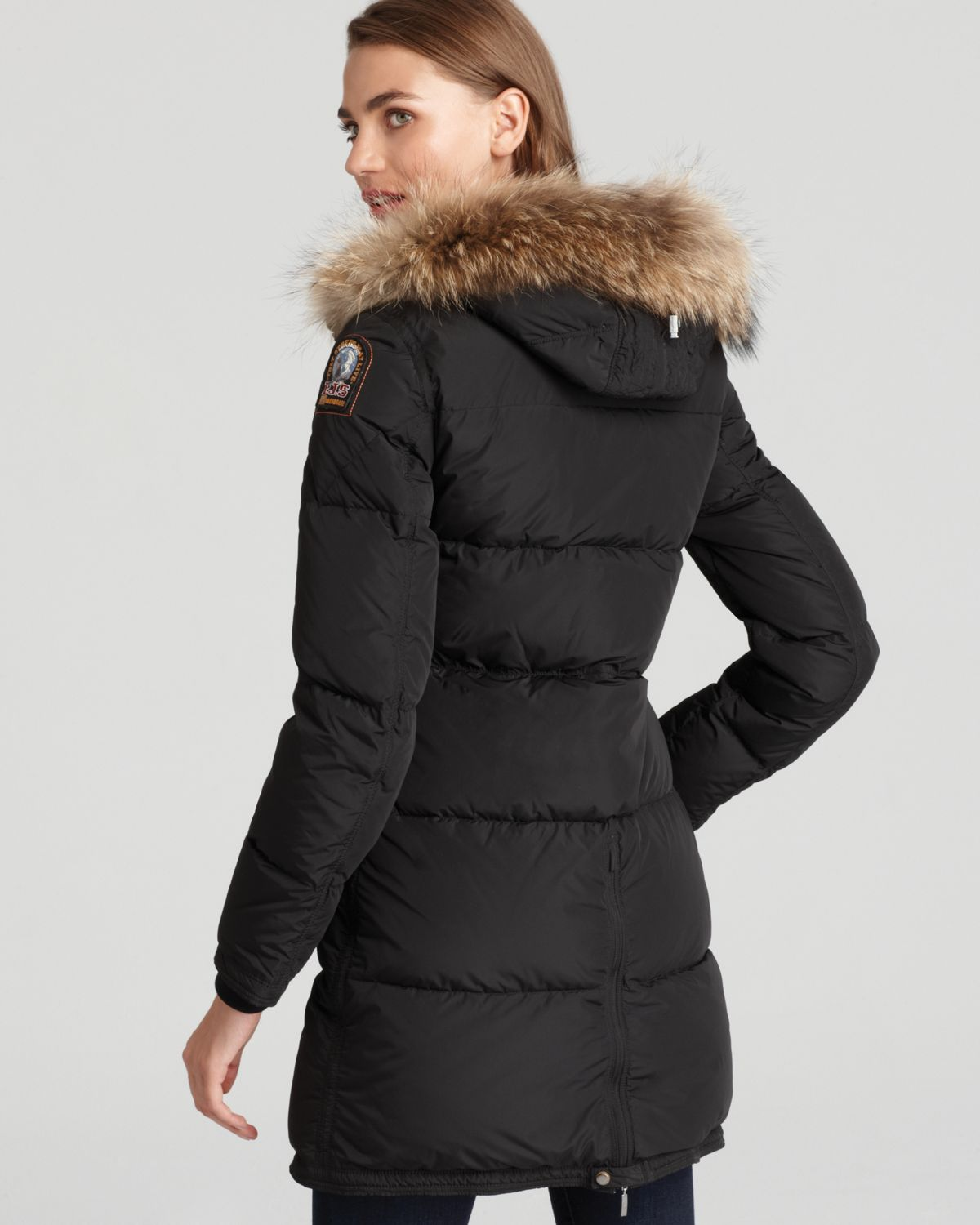 0f9594019 Parajumpers Black Long Bear Down Coat with Fur Hood