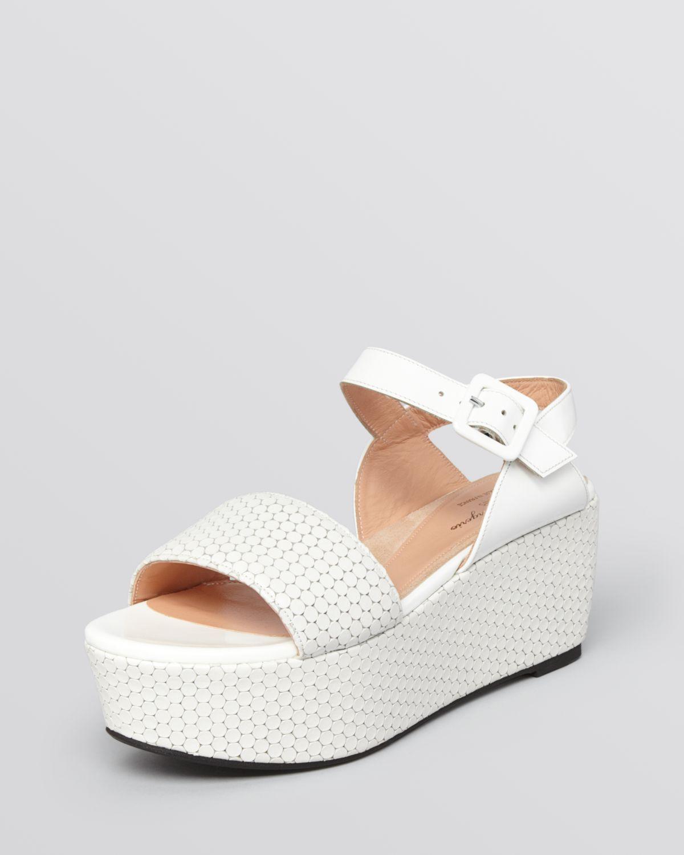 robert clergerie platform wedge sandals frak in white lyst