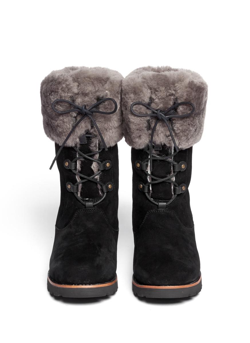 1614cff6061 Lyst - UGG Barbarin Sheepskin Cuff Suede Booties in Black